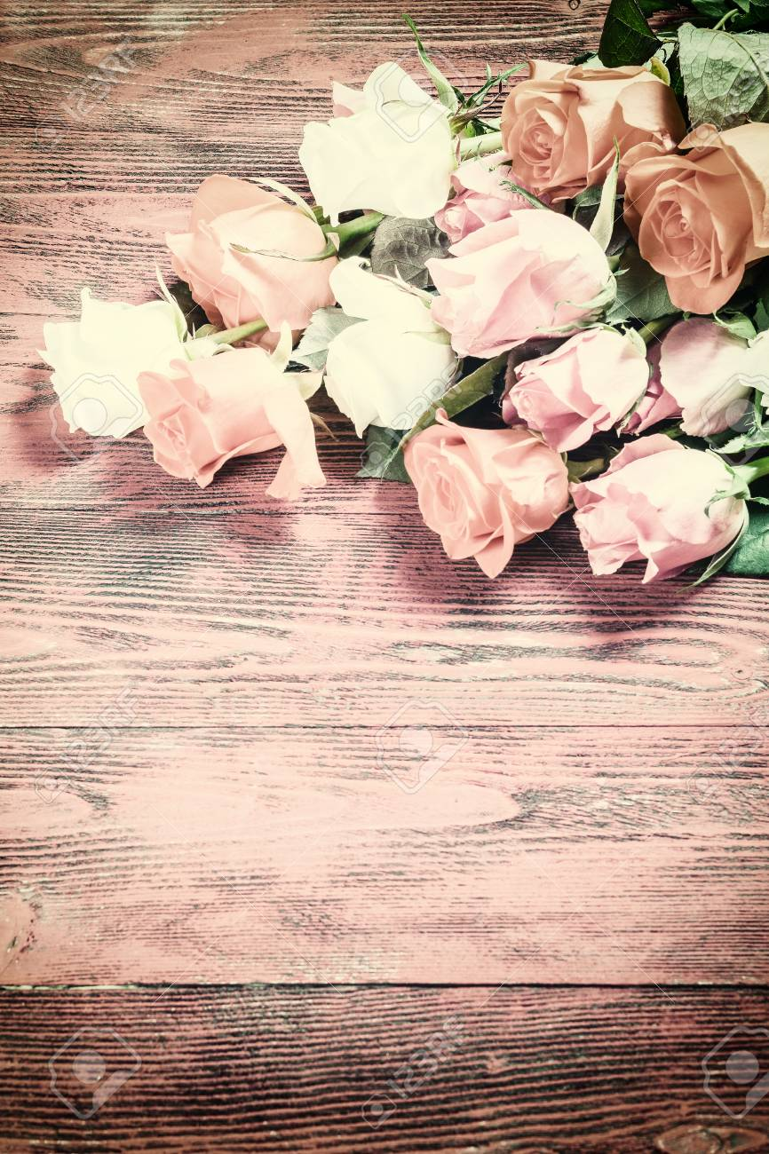 Vintage Rose Flowers On Rustic Backdrop Beautiful Floral