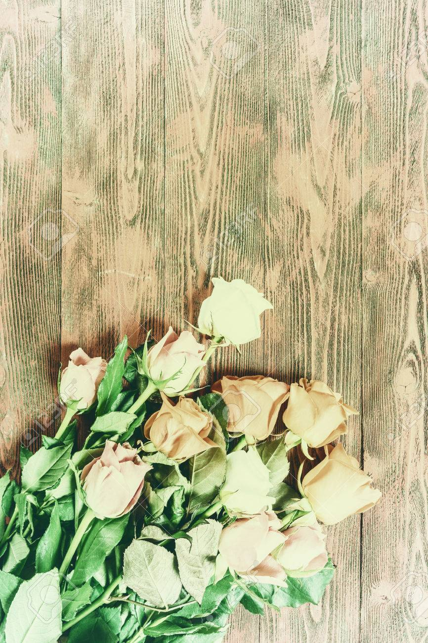 Vintage Rose Flowers On Rustic Backdrop Beautiful Floral Background