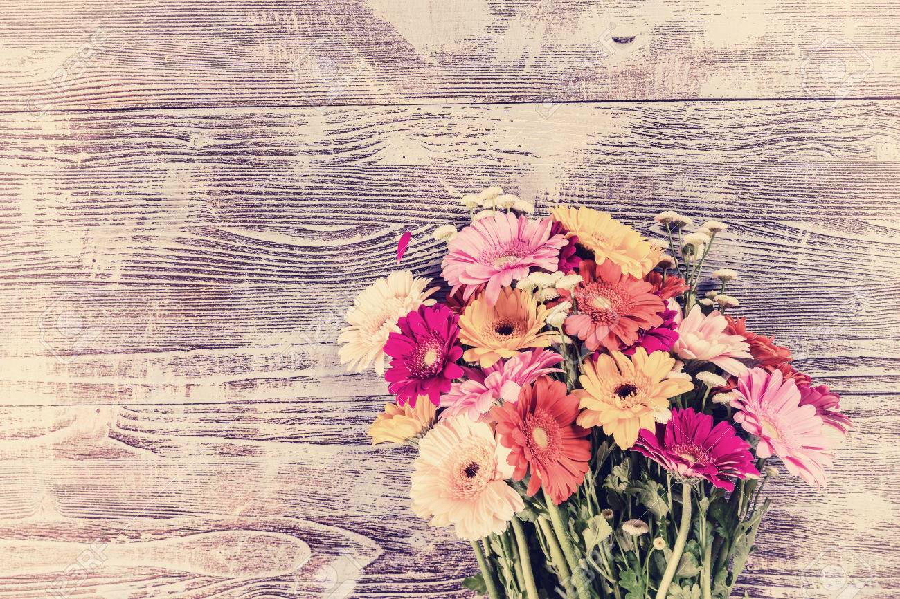 Vintage Gerbera Flowers On Rustic Background Floral Postcard