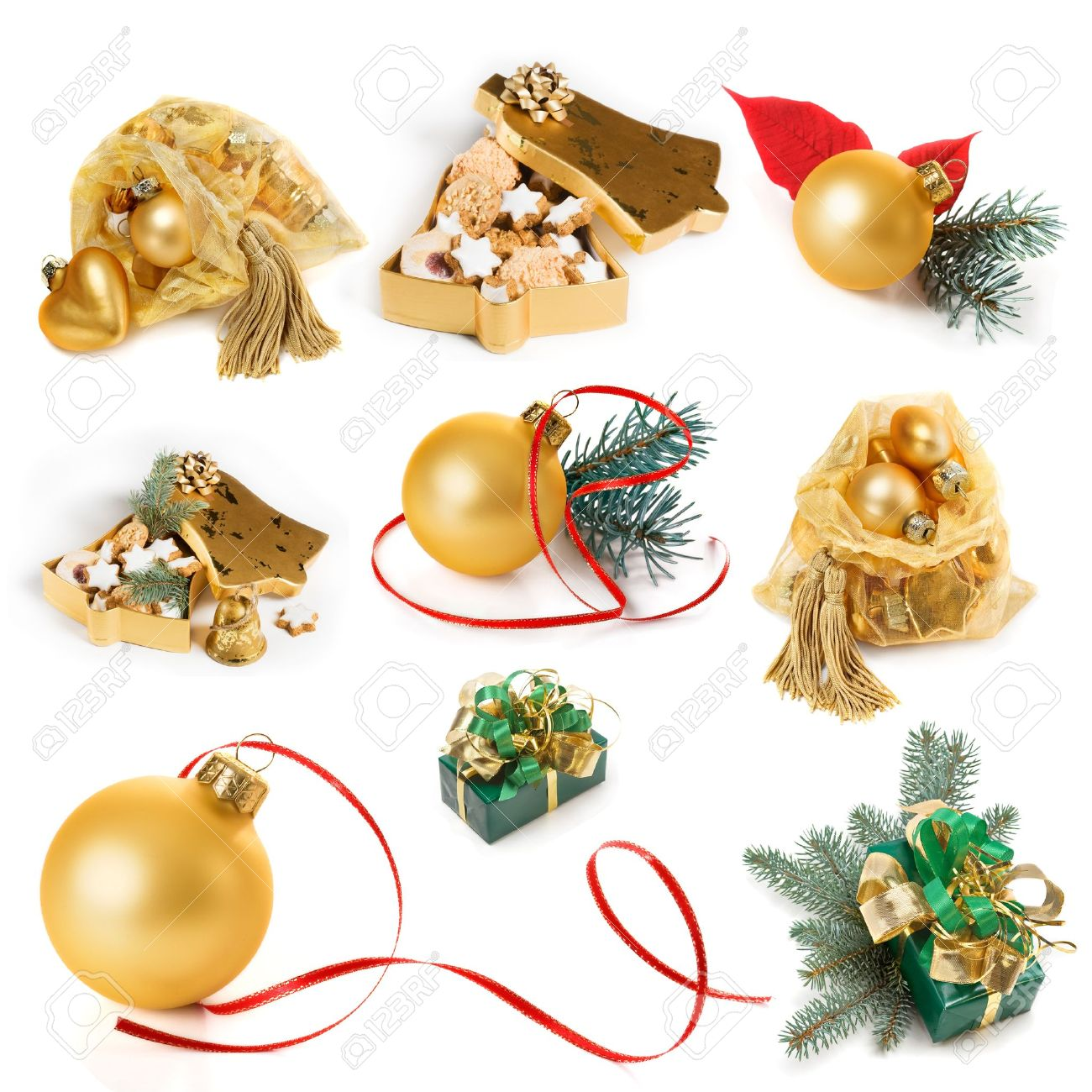 Christmas presents and decoration in gold, collection on white background Stock Photo - 10542312