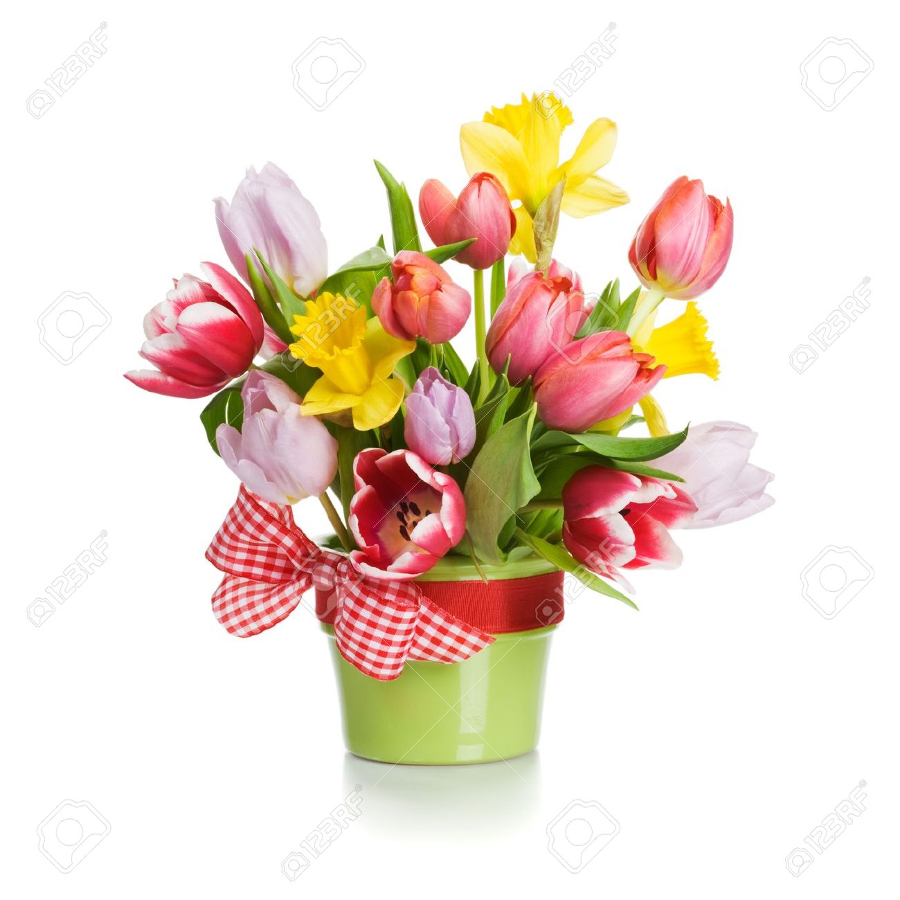 Green Flower Pot With Spring Flowers On White Background Stock Photo
