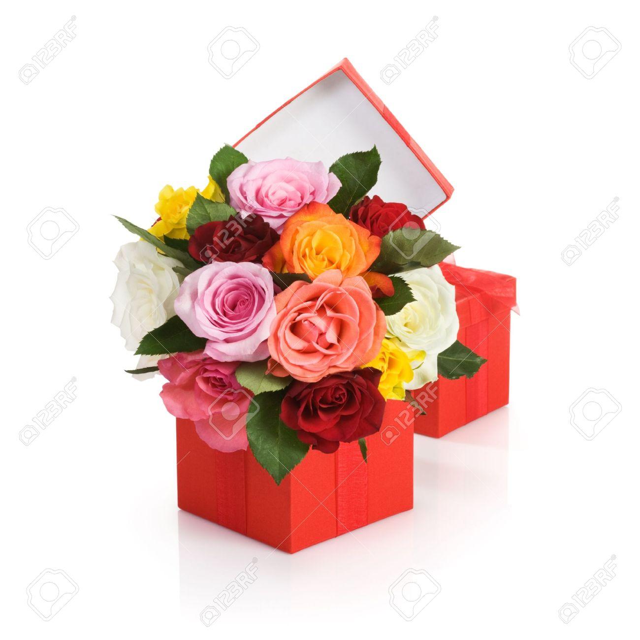 Regala flores al forer@ de arriba                 - Página 2 14478417-Caja-de-regalo-rojo-con-rosas-de-colores-sobre-fondo-blanco-Foto-de-archivo