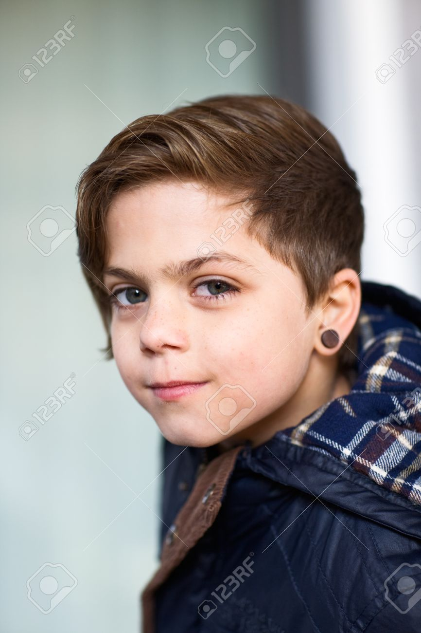 Portrait Of Boy Wearing Earring Stock Photo, Picture And Royalty ...