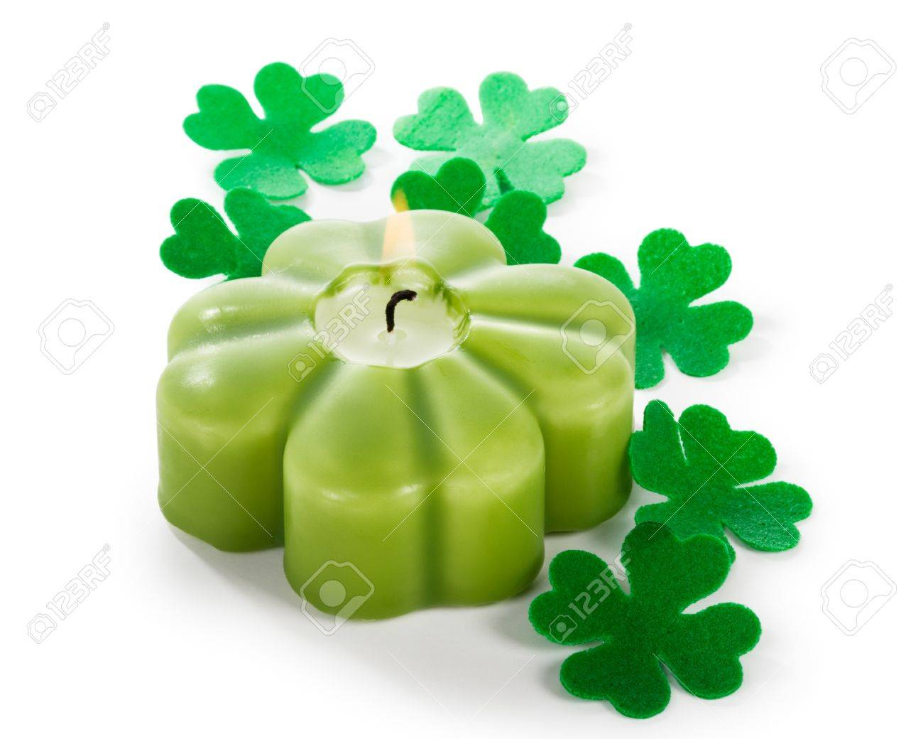 Shamrock burning candle for Patricks Day clipping path included Stock Photo - 17077471