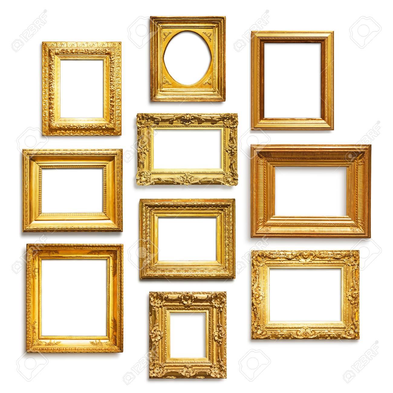 Satz Von Antiken Goldenen Rahmen Auf Weißem Hintergrund Lizenzfreie ...