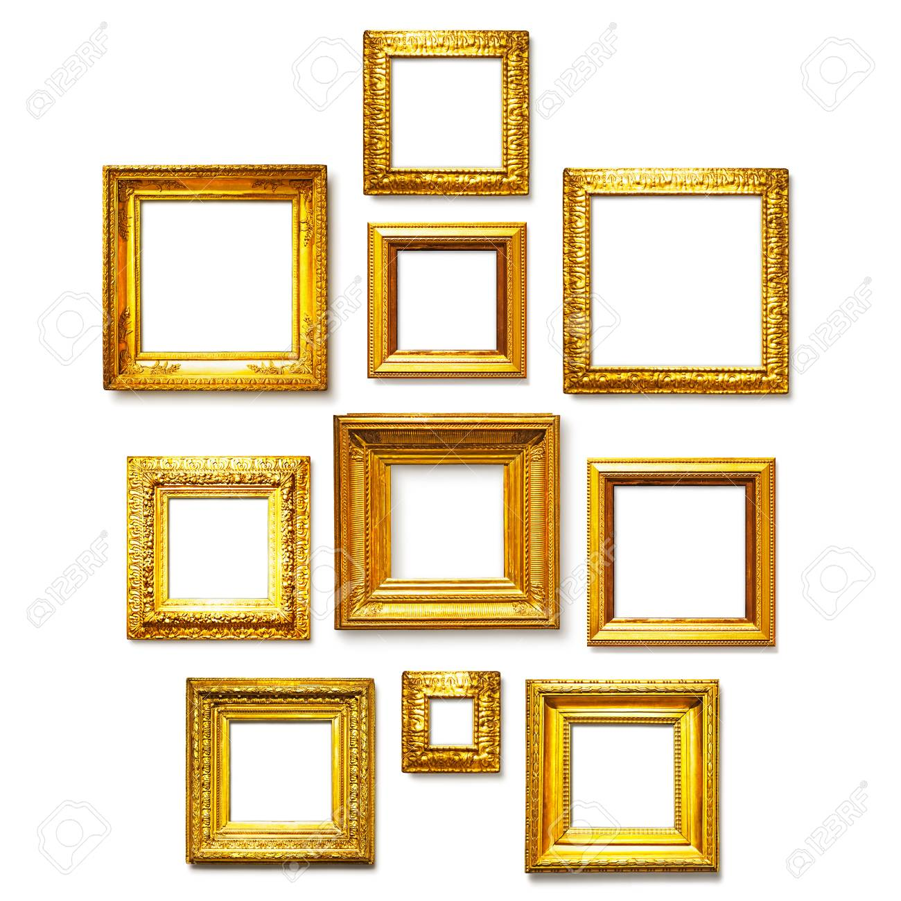 Antique Square Gold Frames Collection On White Background. Gallery ...