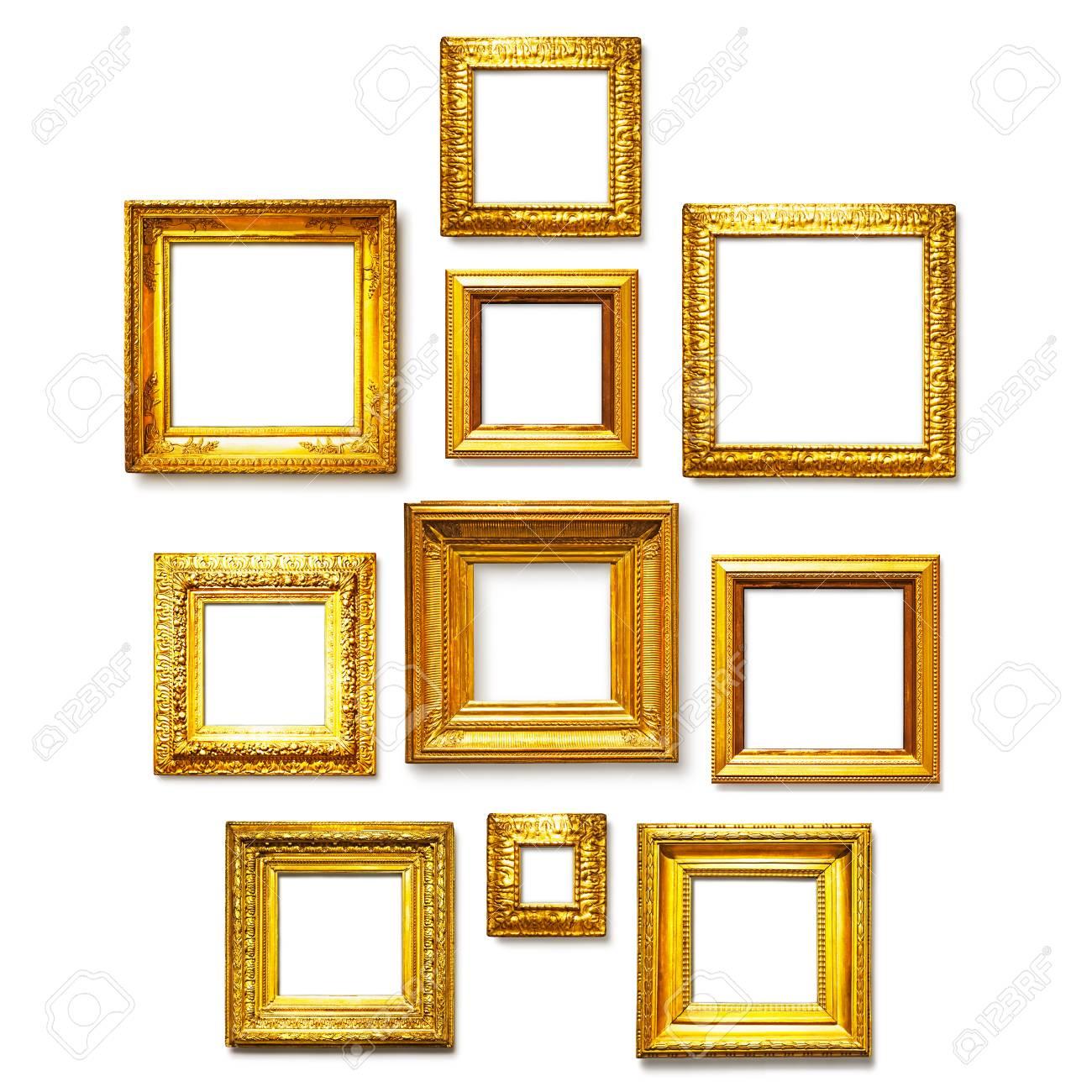 Cuadrado Del Oro Marcos Antiguos Colección Sobre Fondo Blanco. Ideas ...