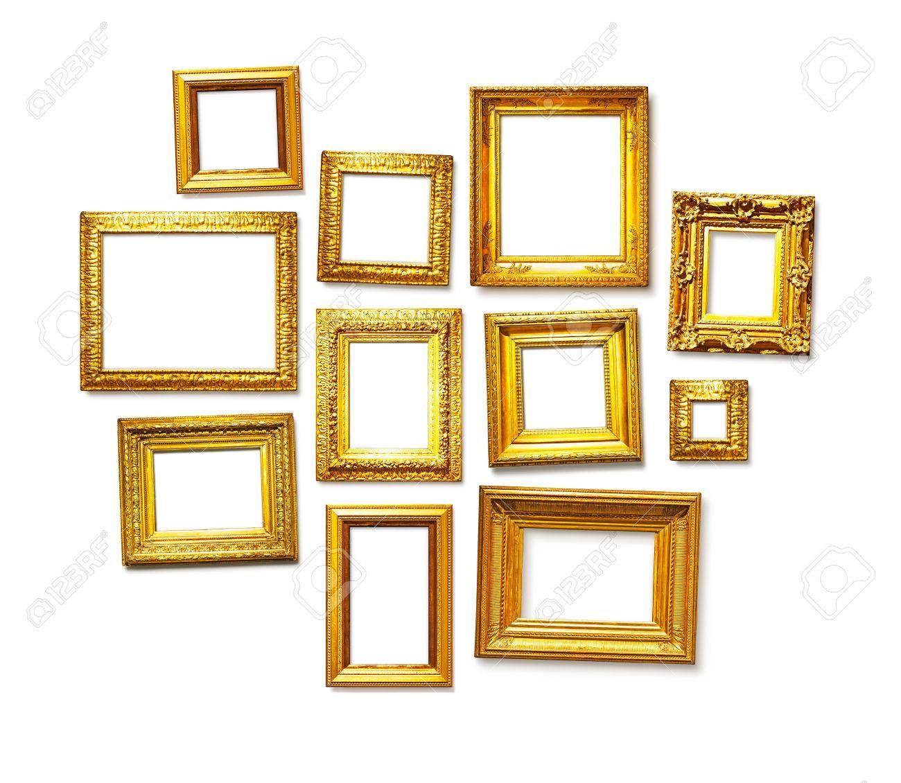 Set Of Antique Golden Frames On White Background. Art Gallery Stock ...