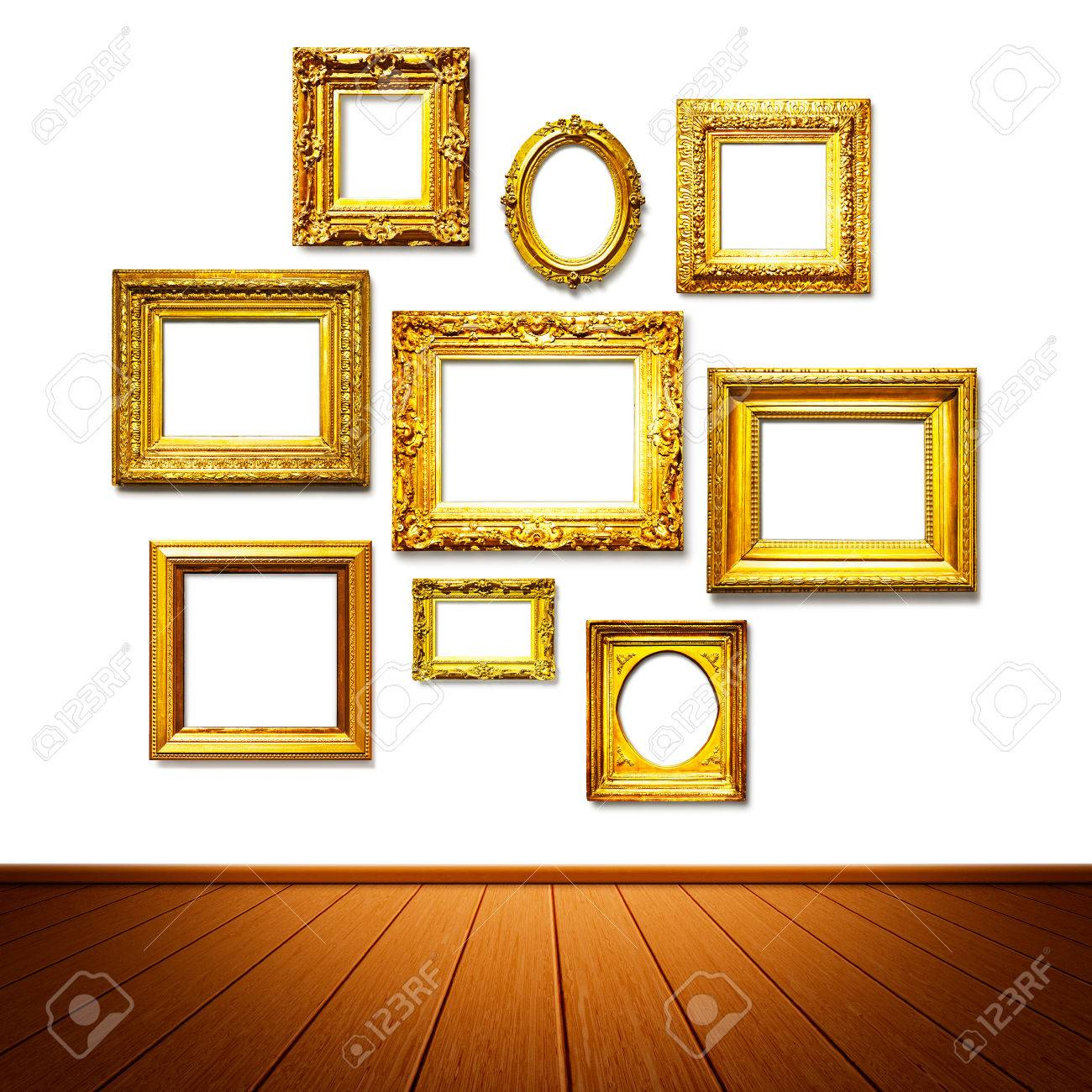 Antique golden frames on the wall. Art gallery. Objects group on white background Stock  sc 1 st  123RF.com & Antique Golden Frames On The Wall. Art Gallery. Objects Group ...