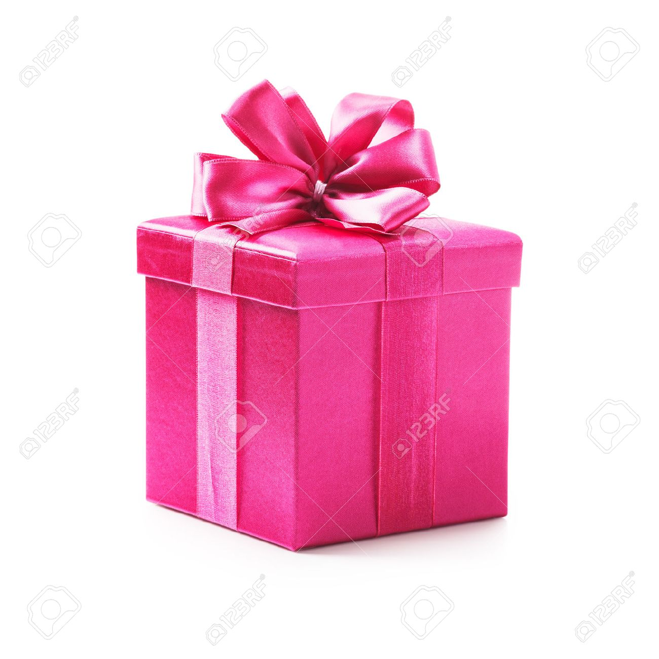Pink Gift Box With Ribbon Bow Holiday Present Object Isolated