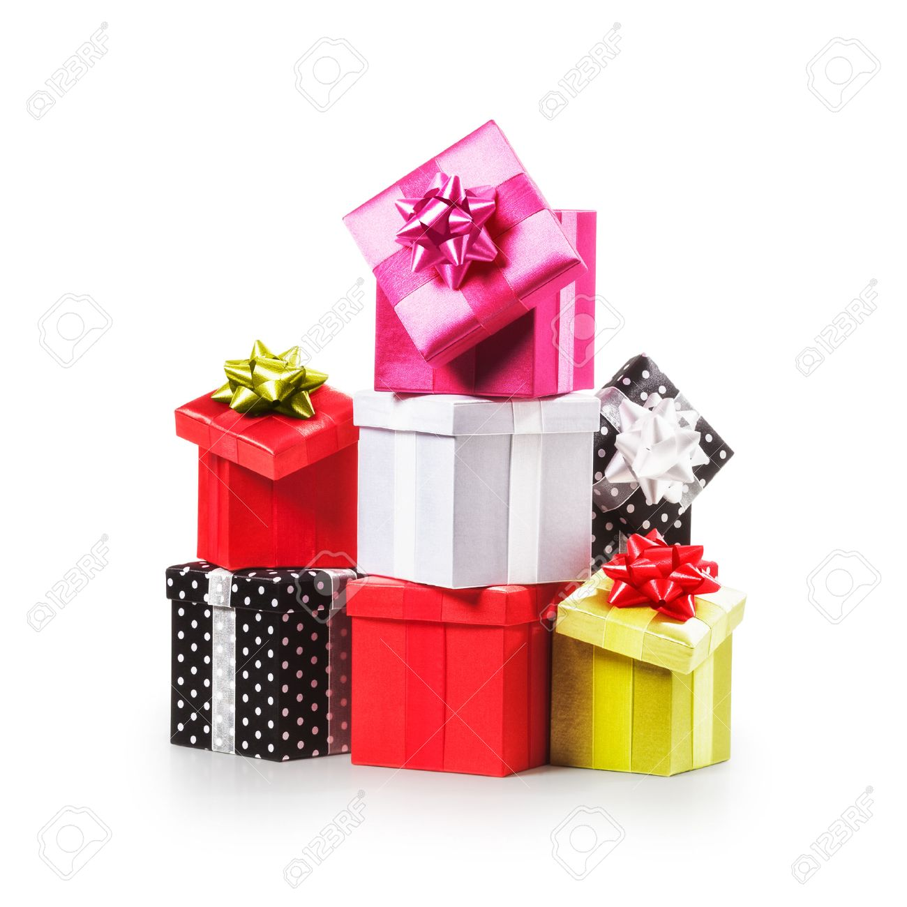 Stacked Gift Boxes With Ribbon Bow. Christmas Present. Croup.. Stock ...