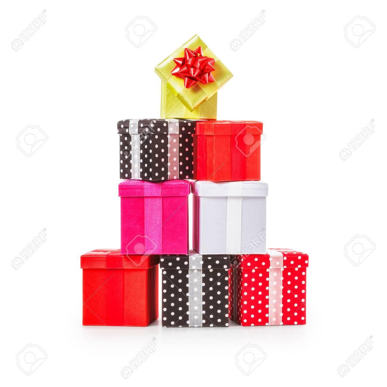 Gestapelte Geschenkkästen Mit Schleife. Weihnachtsgeschenk. Kruppe ...