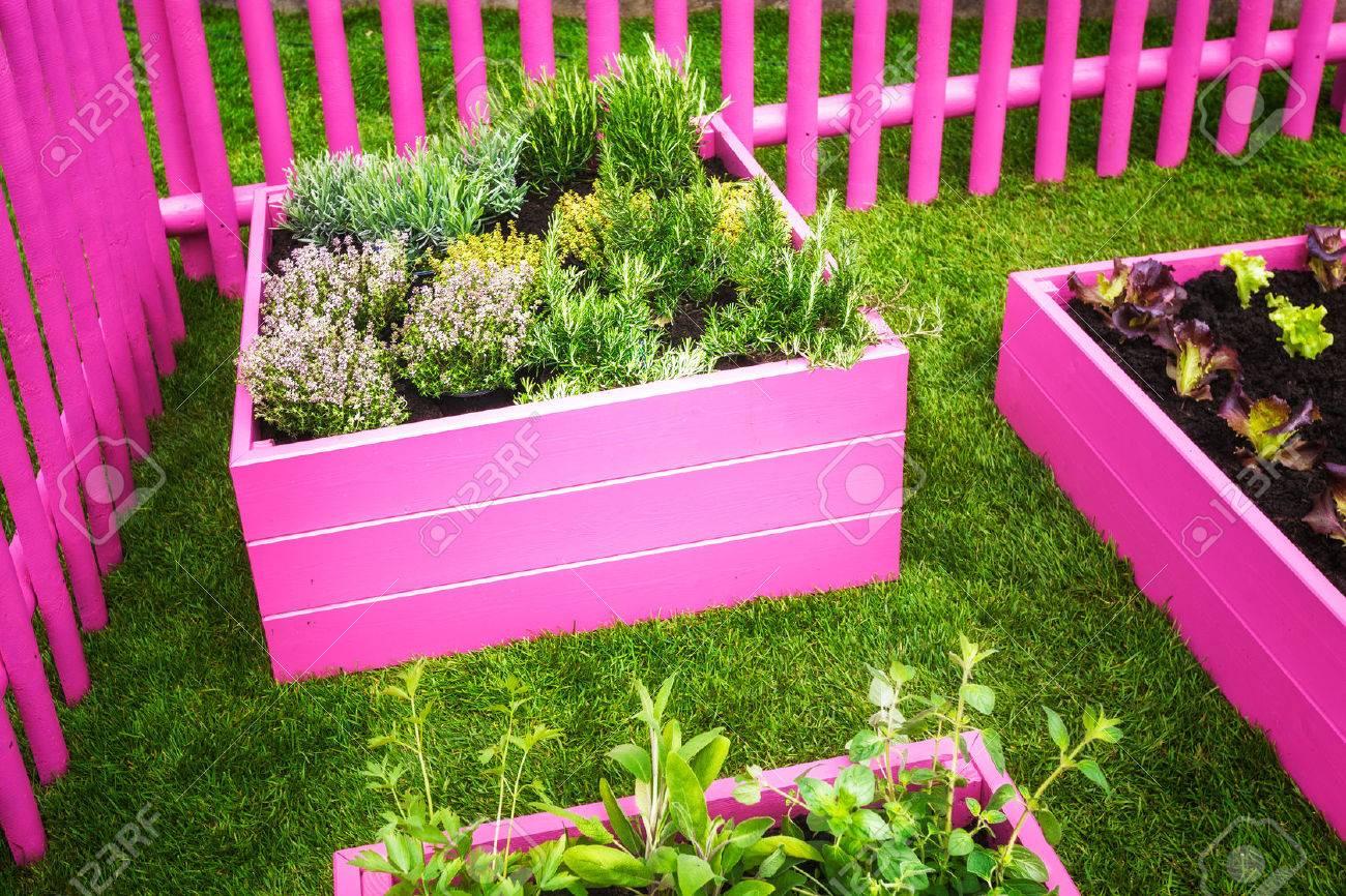 Krautergarten Rosa Hochbeete Mit Krautern Und Gemuse Trendy Garten
