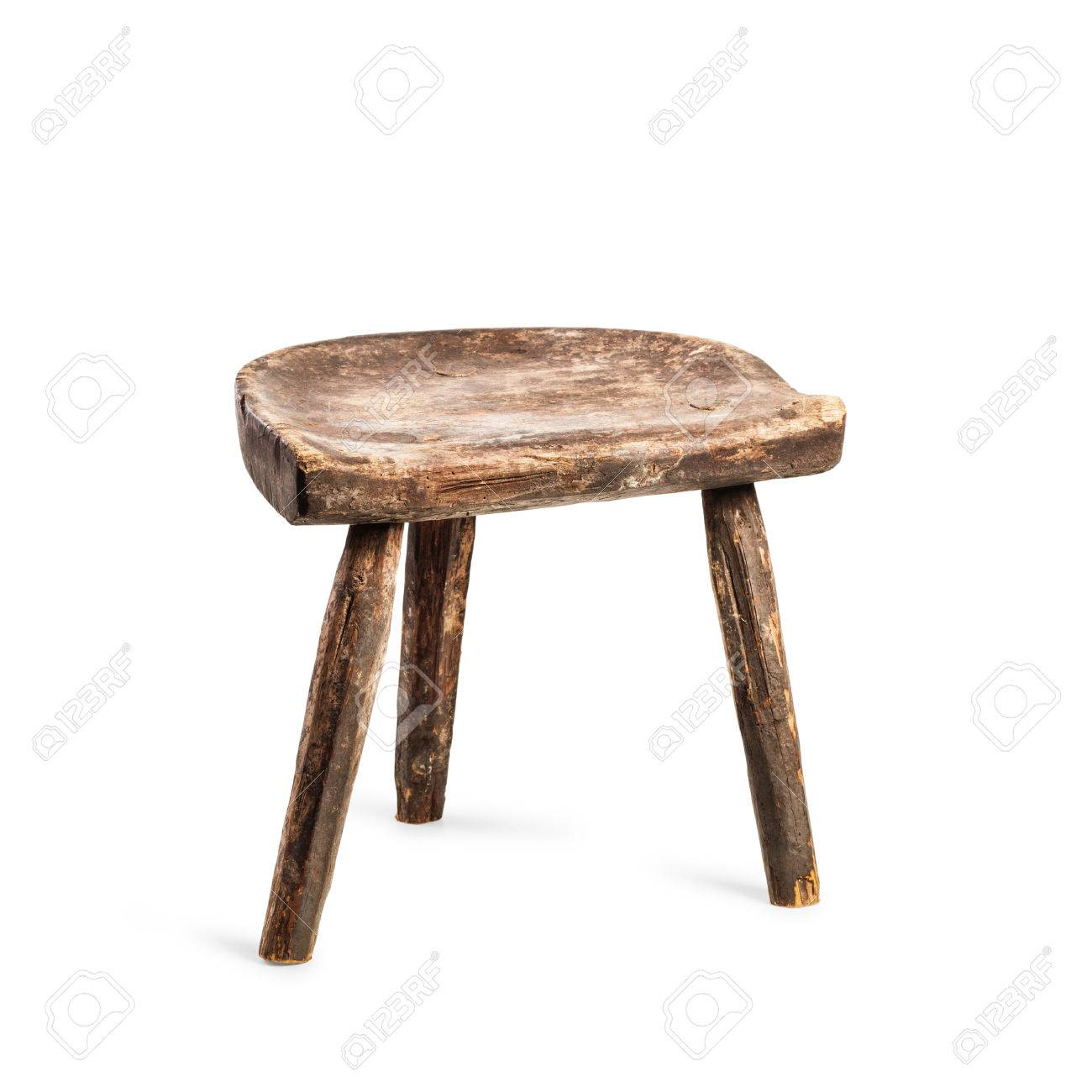 Stock Photo   Vintage Stool Isolated On White Background. Antique Three  Legs Chair. Single Object With Clipping Path