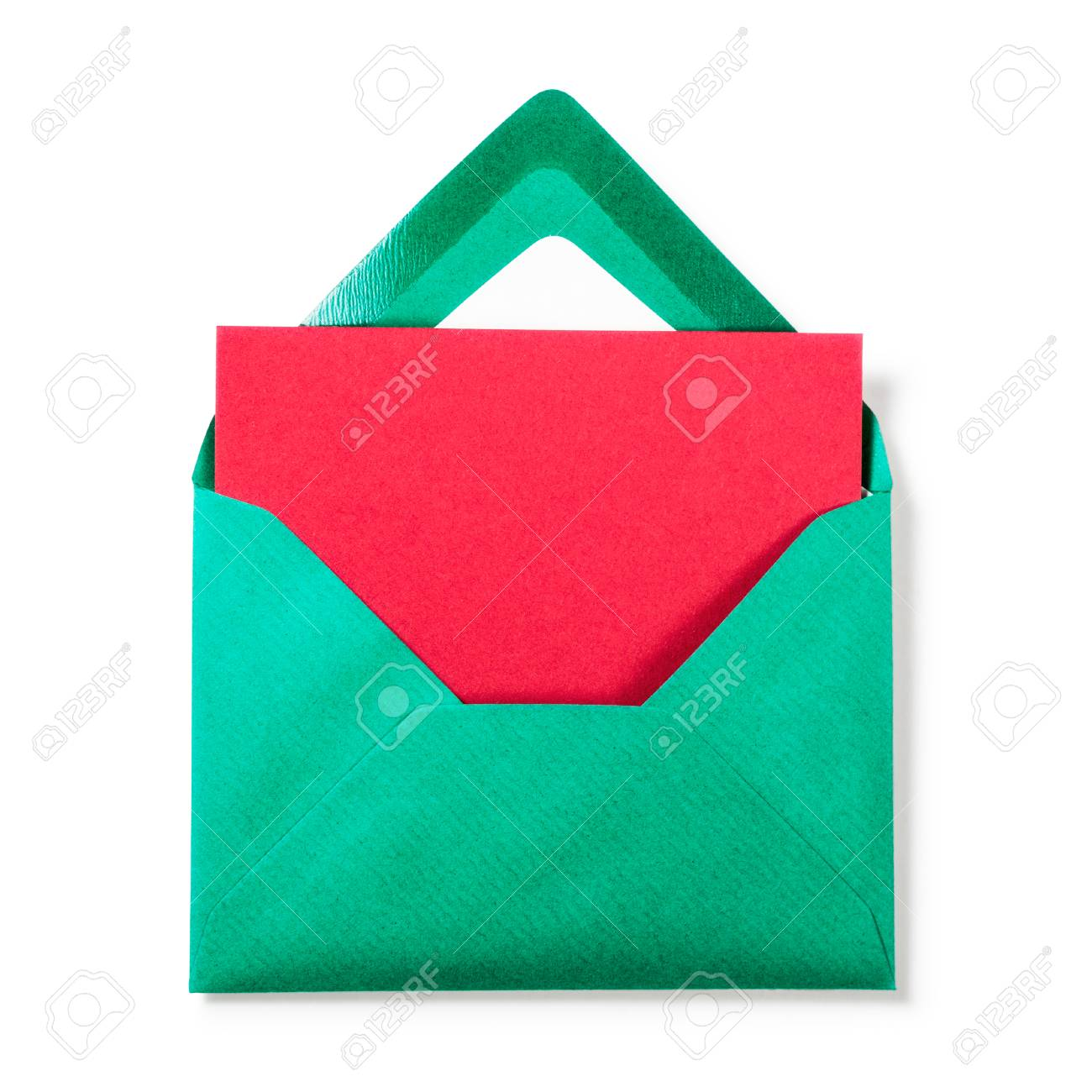 Green Envelope With Red Greeting Card On White Background Copy