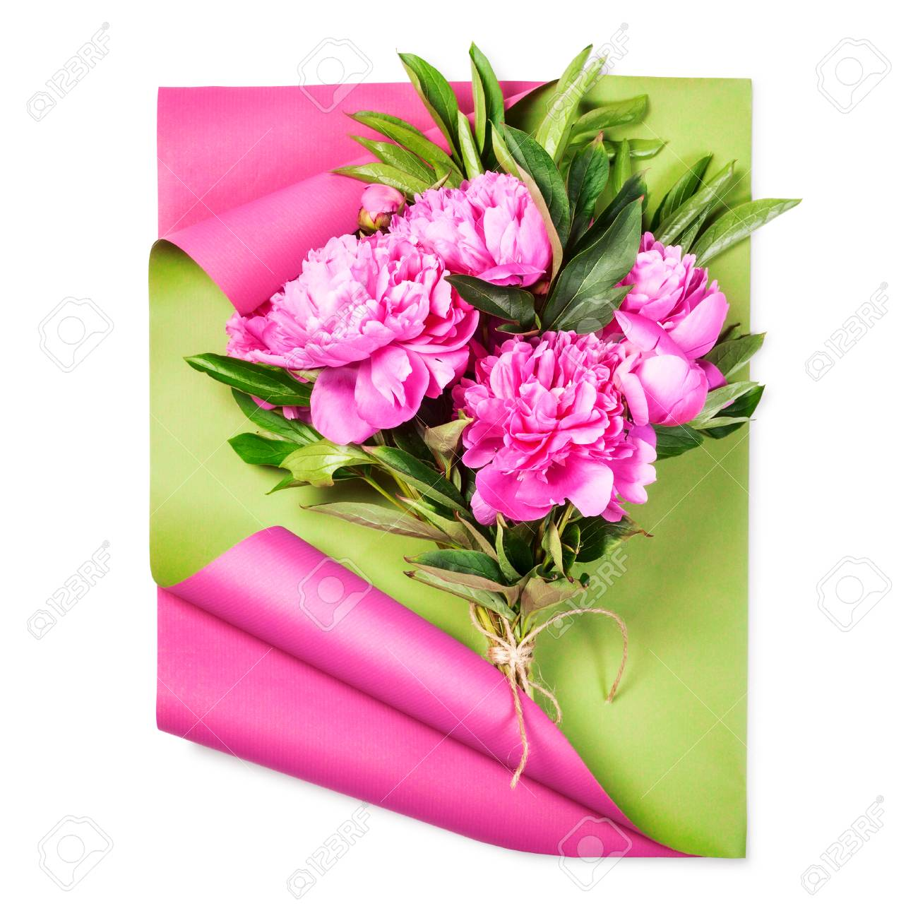 Pink Peony Flowers Bouquet With Wrapping Craft Paper. Objects ...