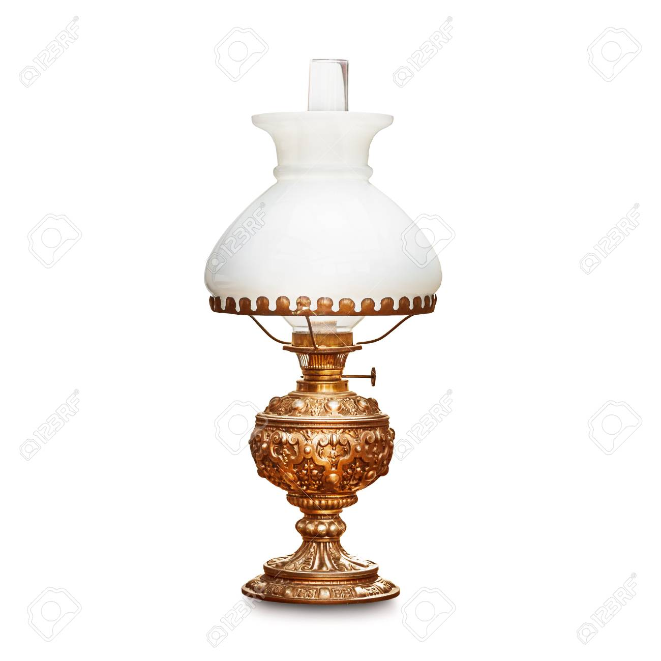 Vintage Table Lamp With White Lampshade Isolated On White Background Stock Photo Picture And Royalty Free Image Image 92921151