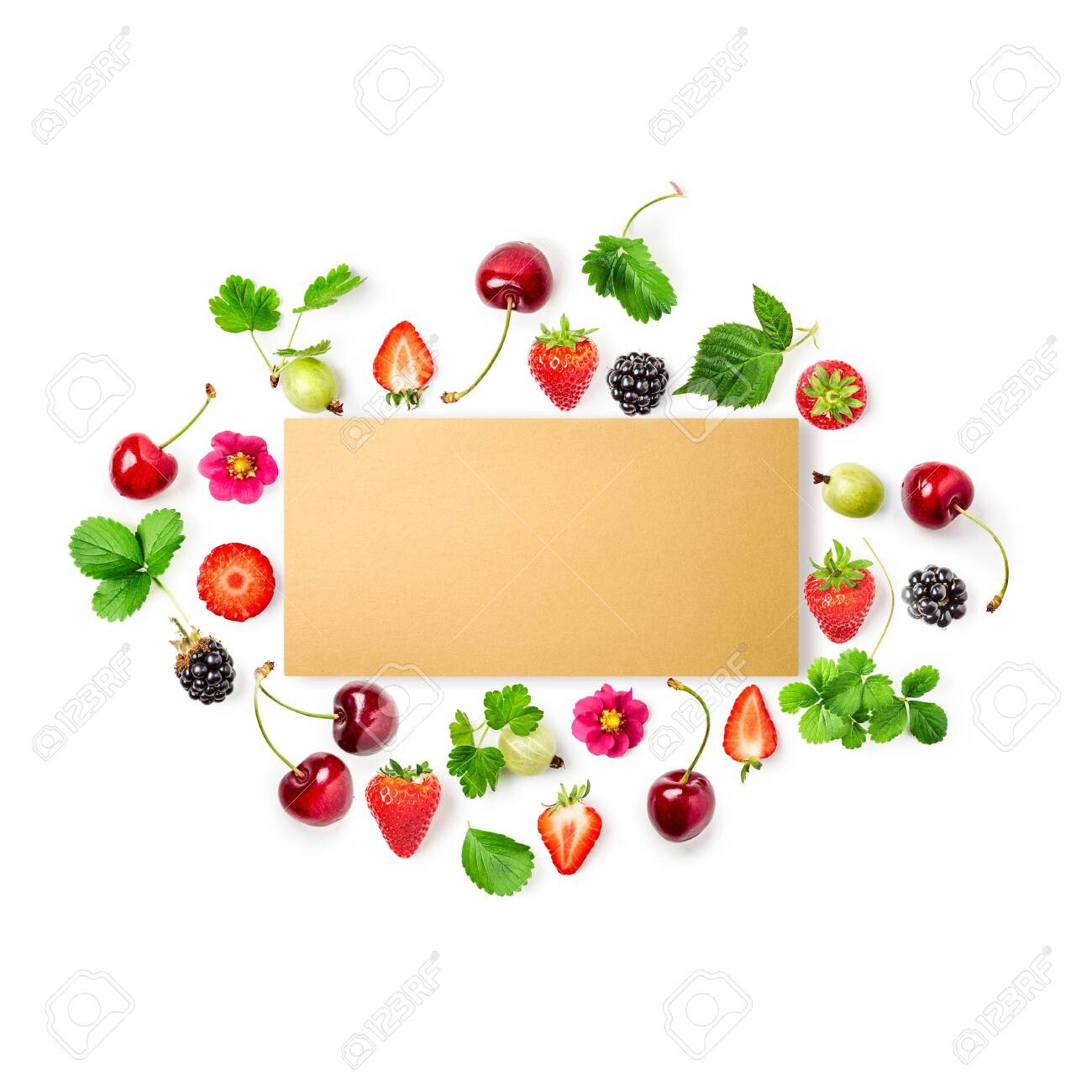 Fresh strawberry, cherry, gooseberry and blackberry frame with paper card on white background. Healthy eating concept. Summer fruits arrangement. Top view, flat lay, design element - 131198866