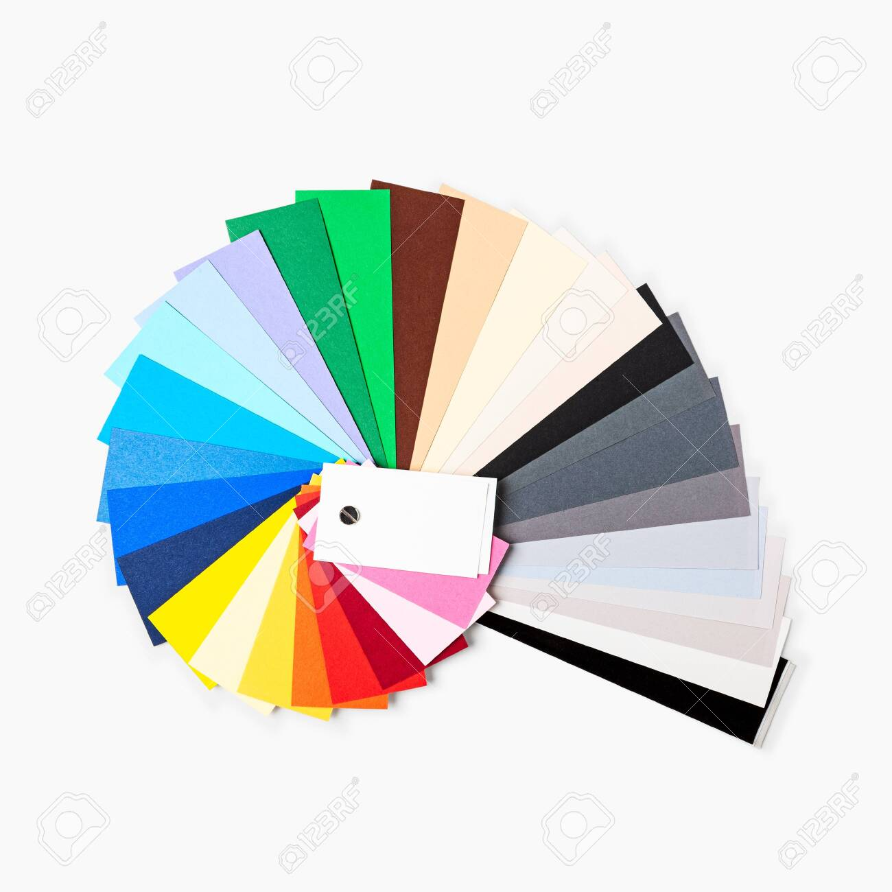 Color paper samples isolated on white background clipping path included. Photograph studio backdrop cardstock. Design element. Flat lay, top view - 141269956