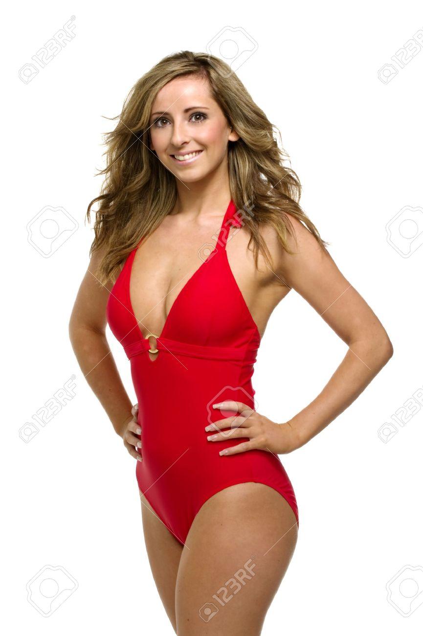Rode Zwembroek.Mooie Vrouw Stond Met Haar Handen Op Haar Heupen Draagt Een Rode