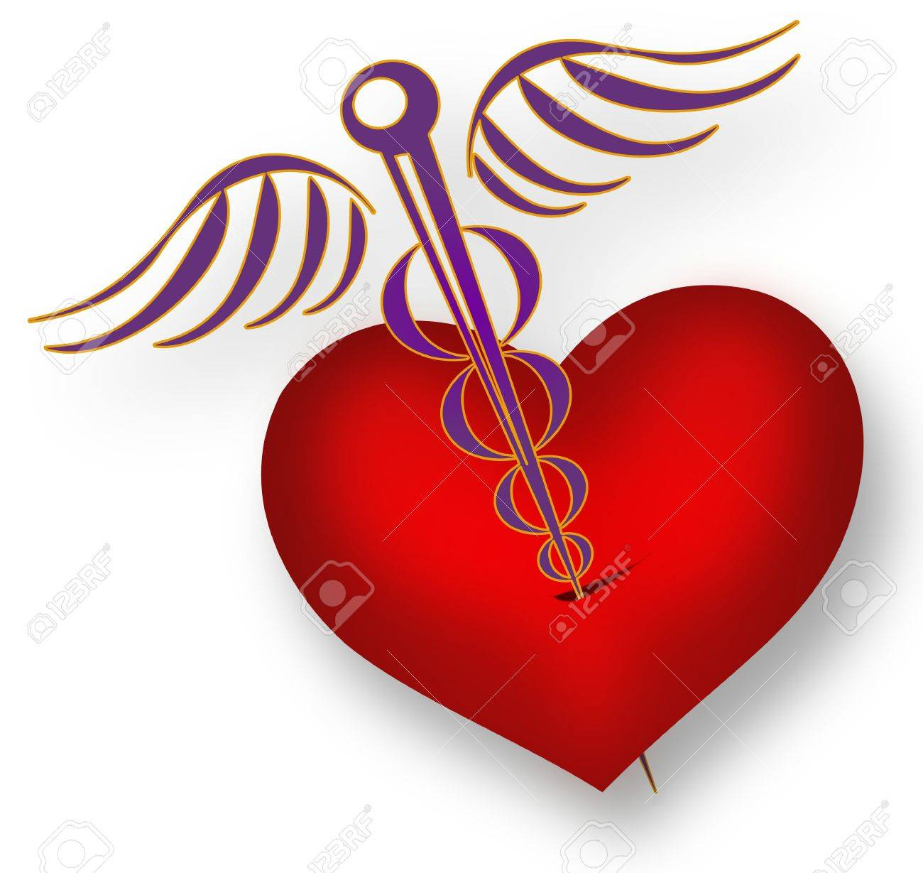 Pierced heart with the Medical symbol Caduceus separated at white background Stock Photo - 20057211