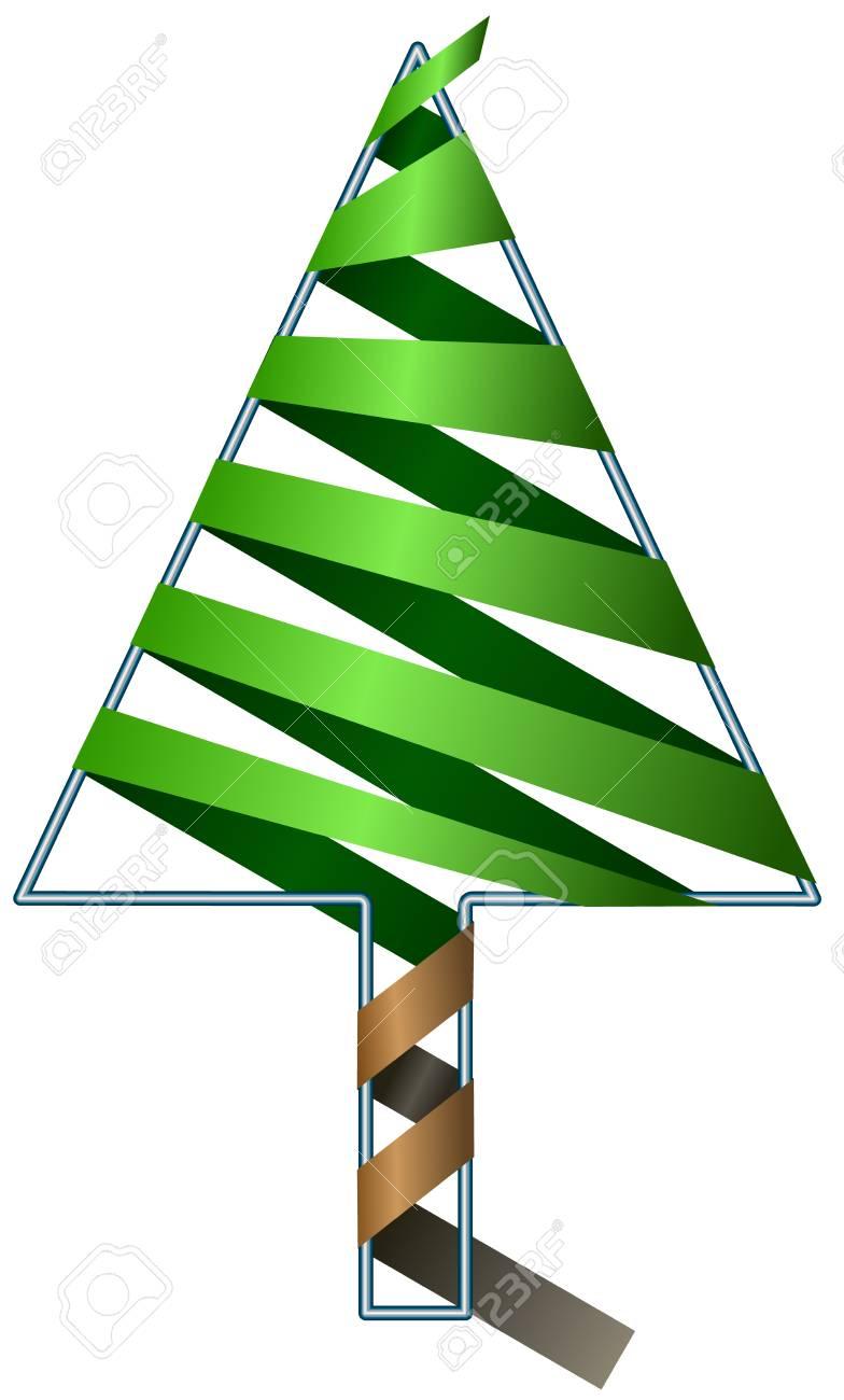 Vector Weihnachtsbaum Aus Grünem Band Auf Draht Gewickelt Lizenzfrei ...