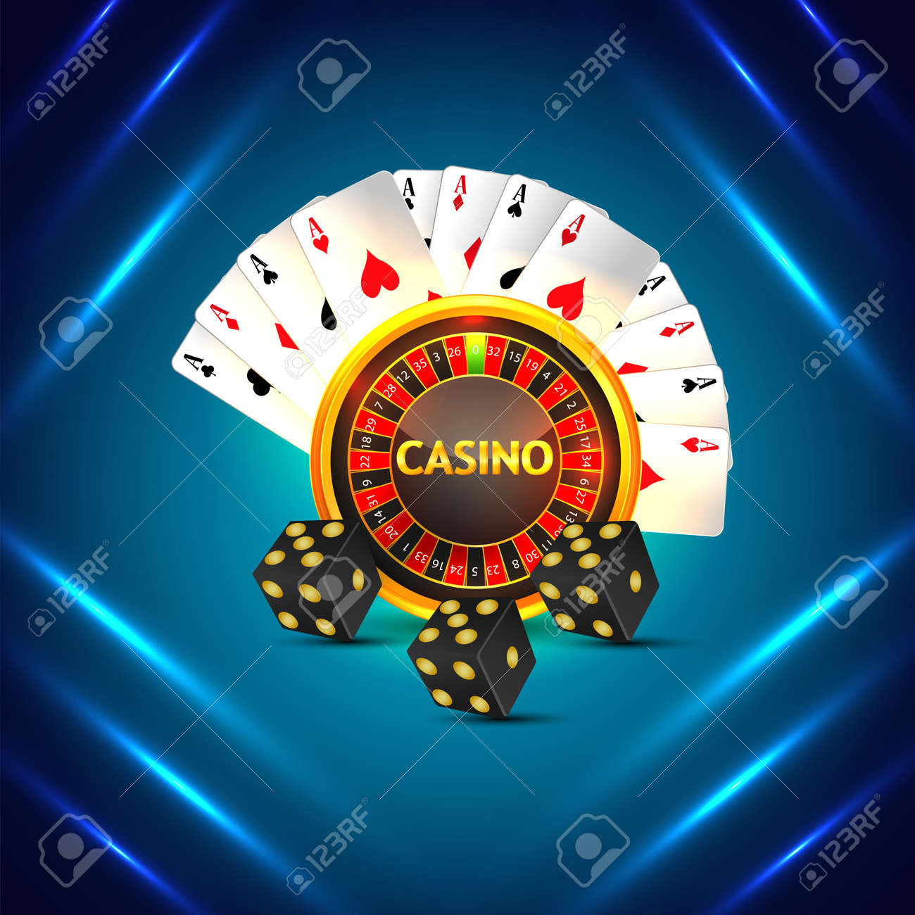 Casino online background with roulette wheel and playing cards - 168720099