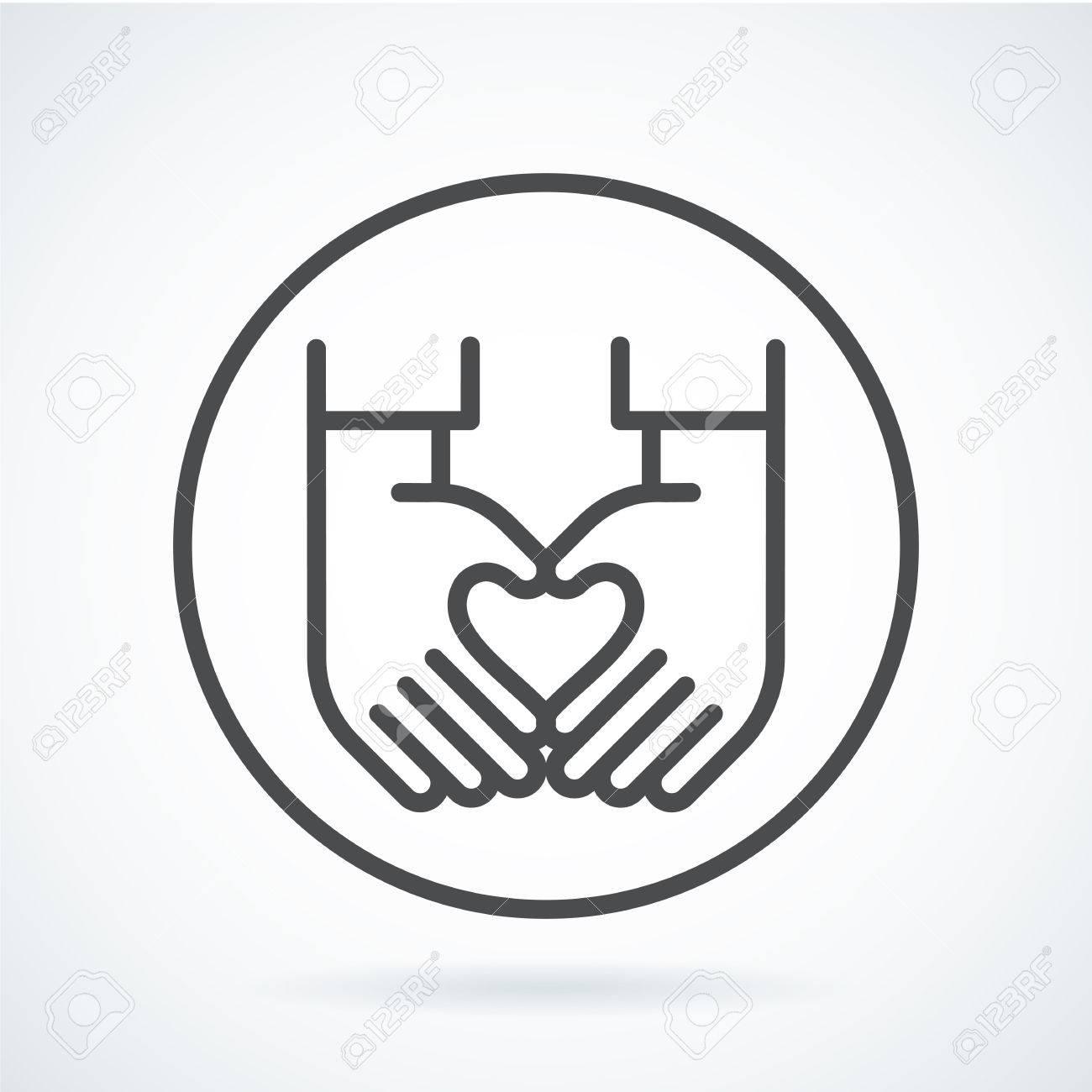 Dessin Au Trait Noir Plat Simple Icône Style Symbole De Contour Avec L Image Stylisée D Une Main De Geste D Un Coeur Humain Dans La Circonférence