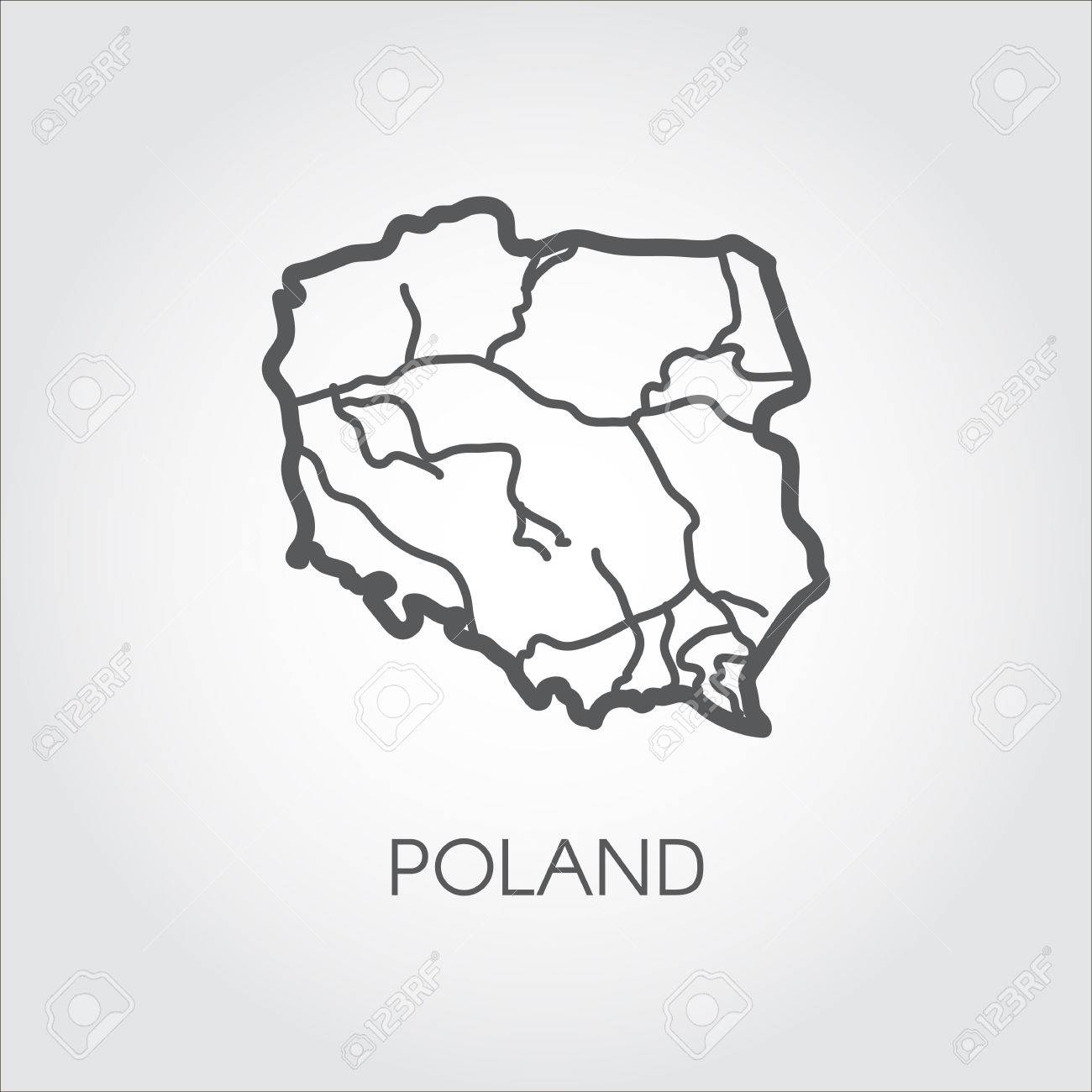 Polen Karte Umriss.Stock Photo