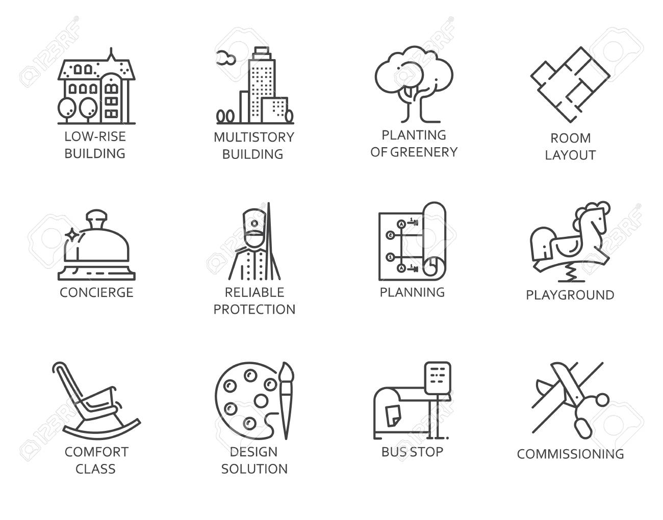 Line icons of real estate outline symbols of city infrastructure line icons of real estate outline symbols of city infrastructure 12 linear sign isolated biocorpaavc Images