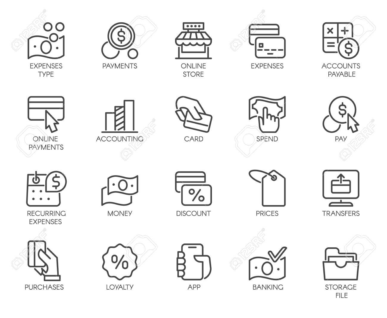 Bank, financial, economic, payment set icons  Credit and debit