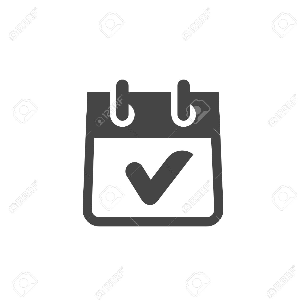 Icon of Calendar with Check Mark in Glyph Style  Completed Task,