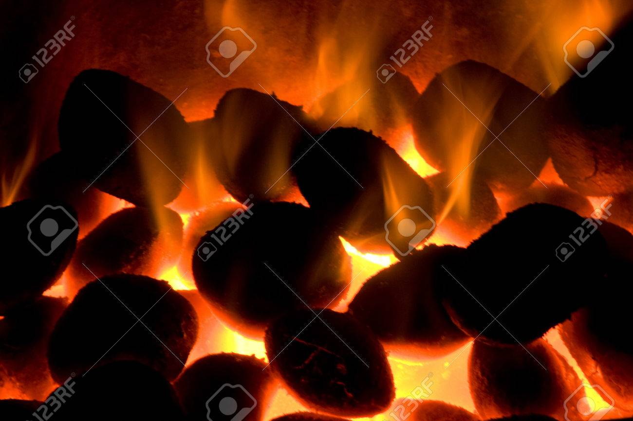 burning coal heat the extinct fire bbq fireplace stock photo