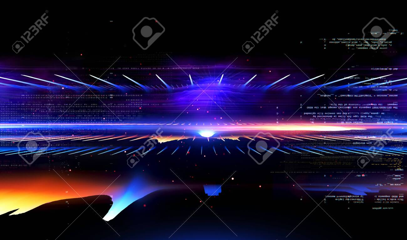 Led Light. Future tech. Shine dynamic scene. Neon flare. Colorful rays. Magic moving fast lines. Sparkling studio. Hologram display. Mystic beam. Stylish fantasy space. Bright blurred waves. - 135999296