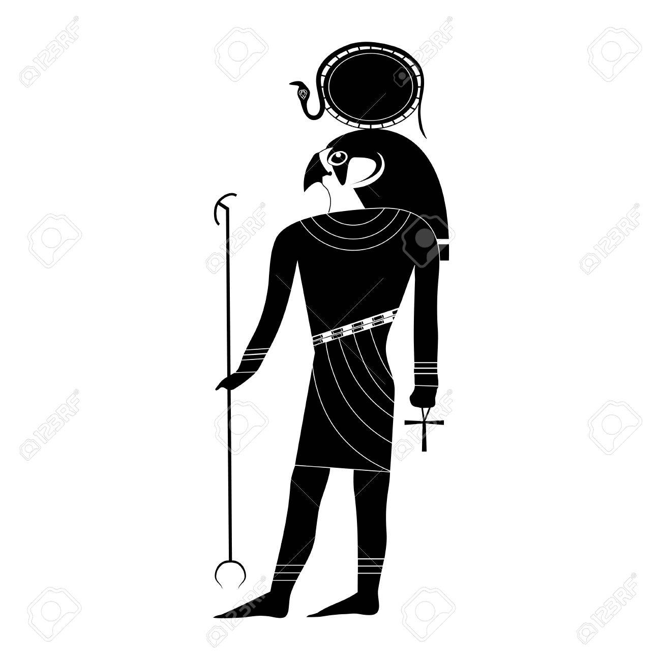 Black and white silhouette of the ancient egyptian god ra in black and white silhouette of the ancient egyptian god ra in ancient traditional style with a buycottarizona