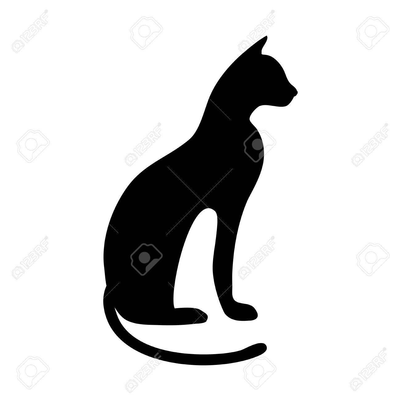Black Silhouette Of The Ancient Egyptian Cat Breed Sacred Image Seen Paws Tail