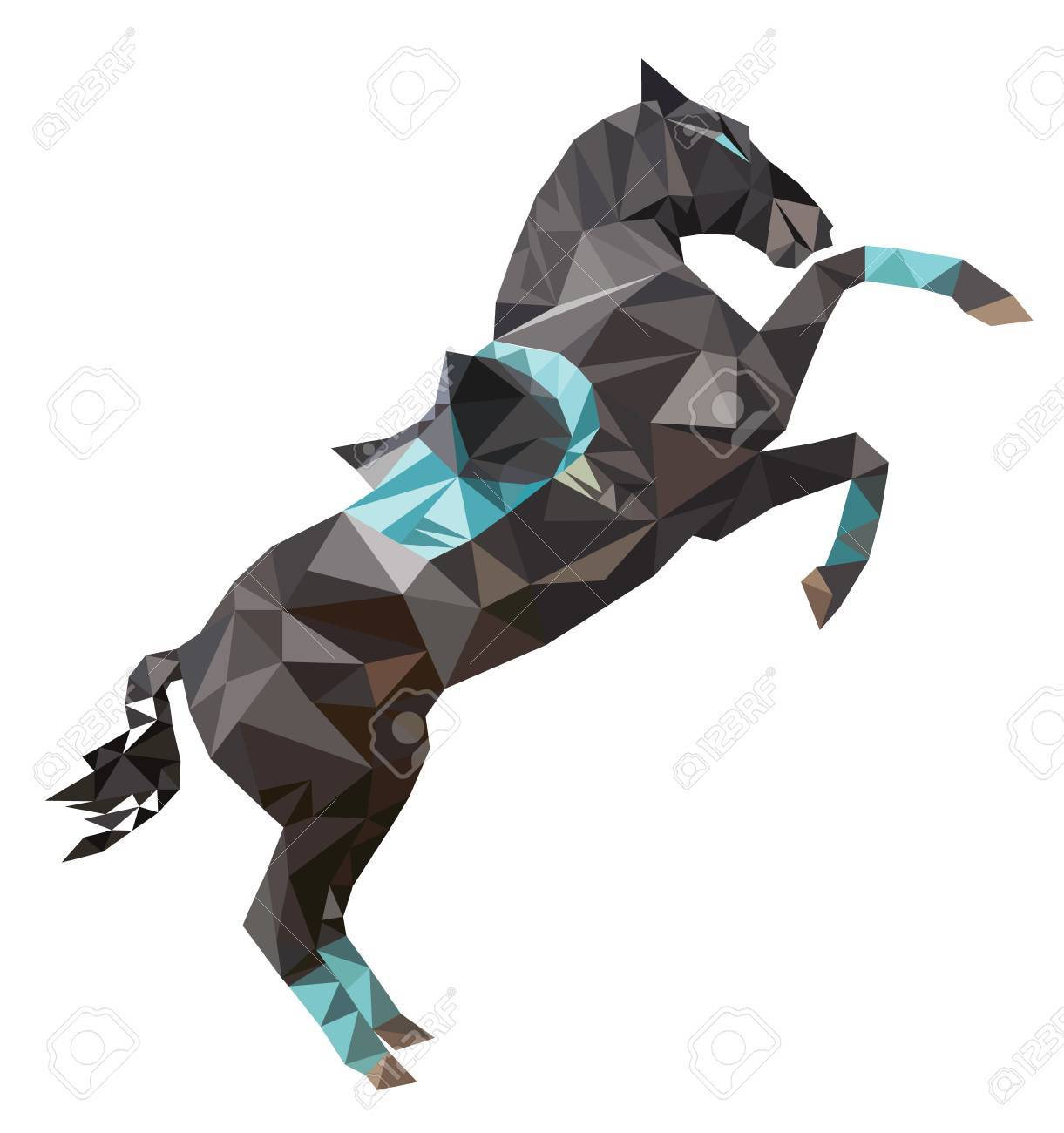 Isolated Polygon Dark Sport Horse Rearing Up With Saddle Vector Polygonal Image Of