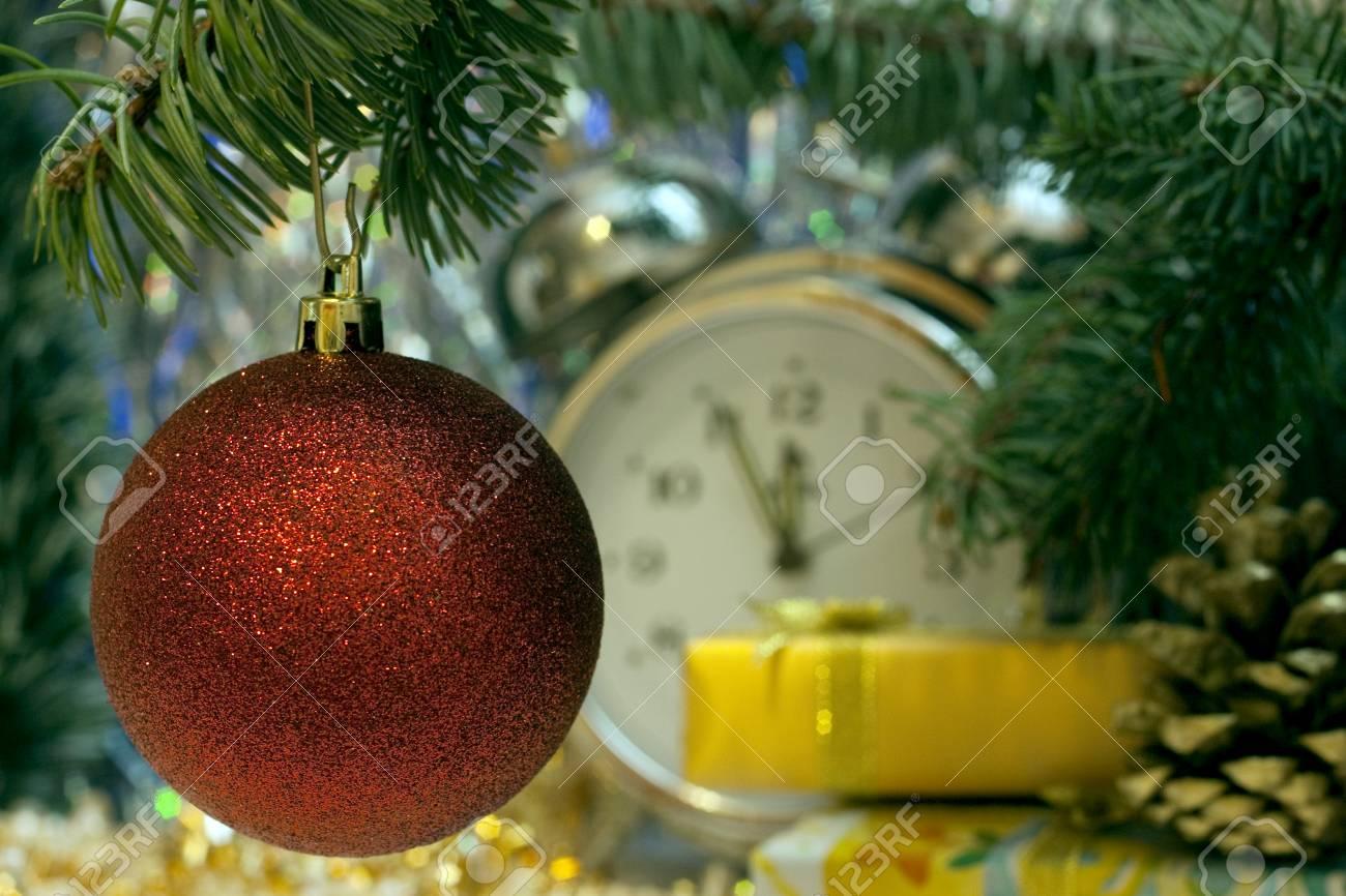 Jahrgang Uhr Weihnachten Und Neujahr Fünf Bis Mitternacht Zeigt ...