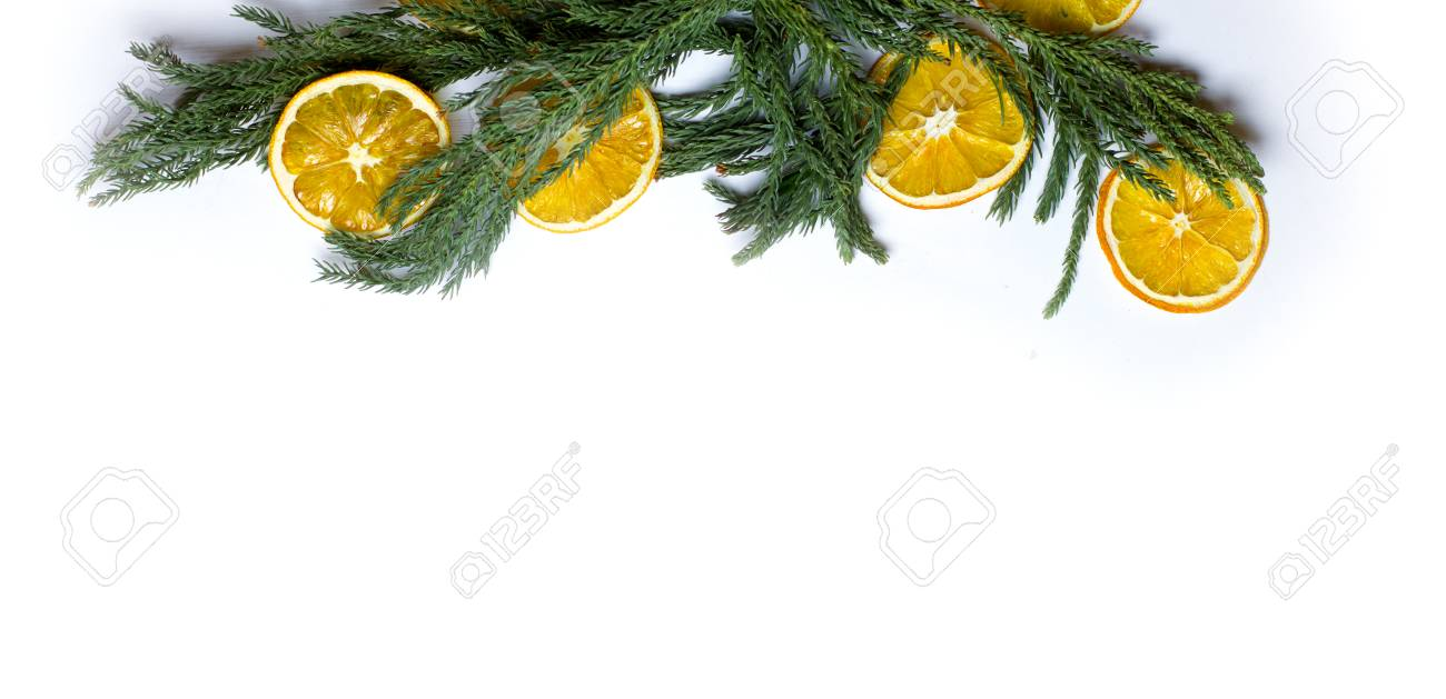Christmas Top Border Frame Of Fir Tree Branch Golden Pine Cones And Balls Dry