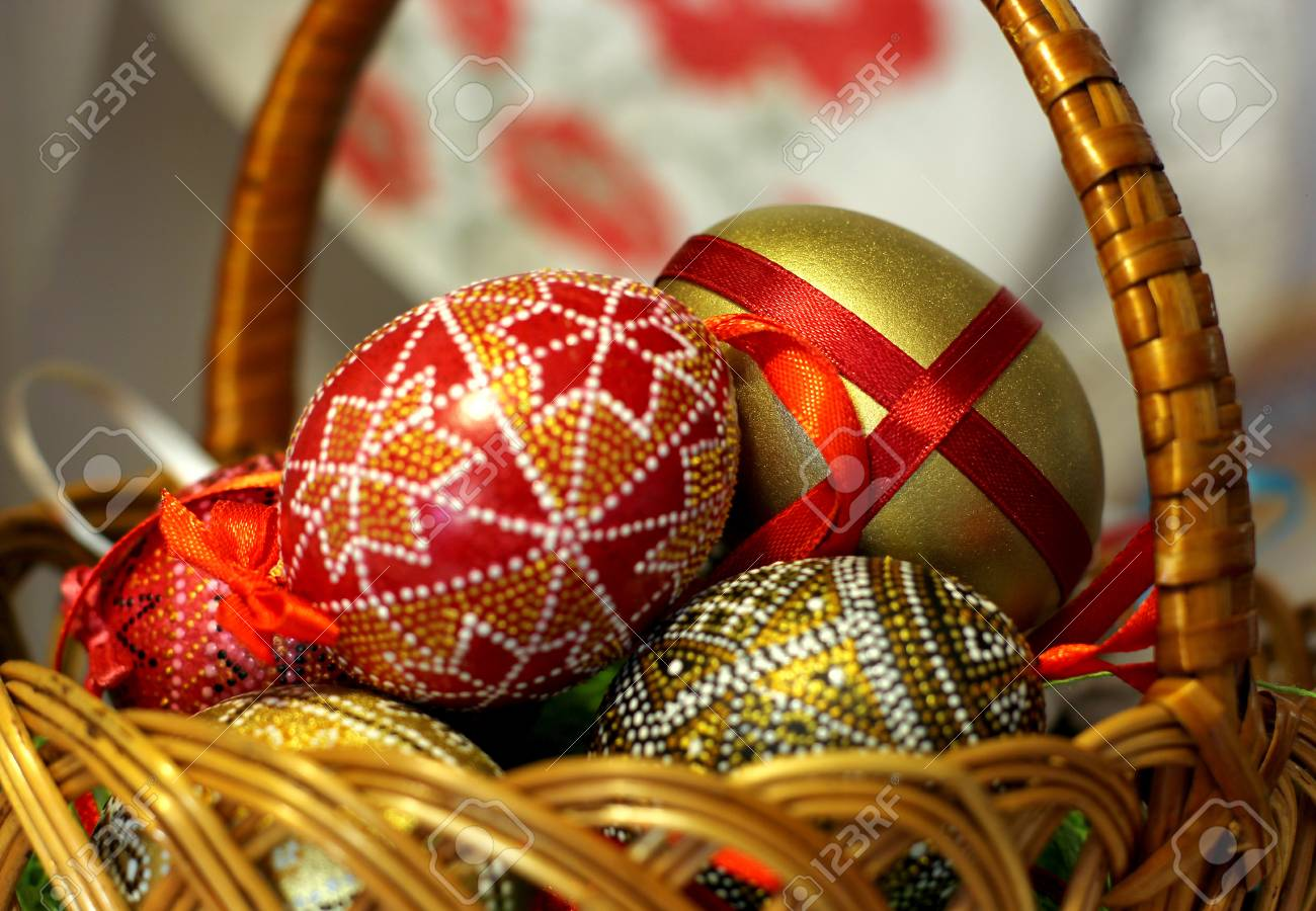 Easter Hand Made Decorated Eggs In Basket Stock Photo Picture And