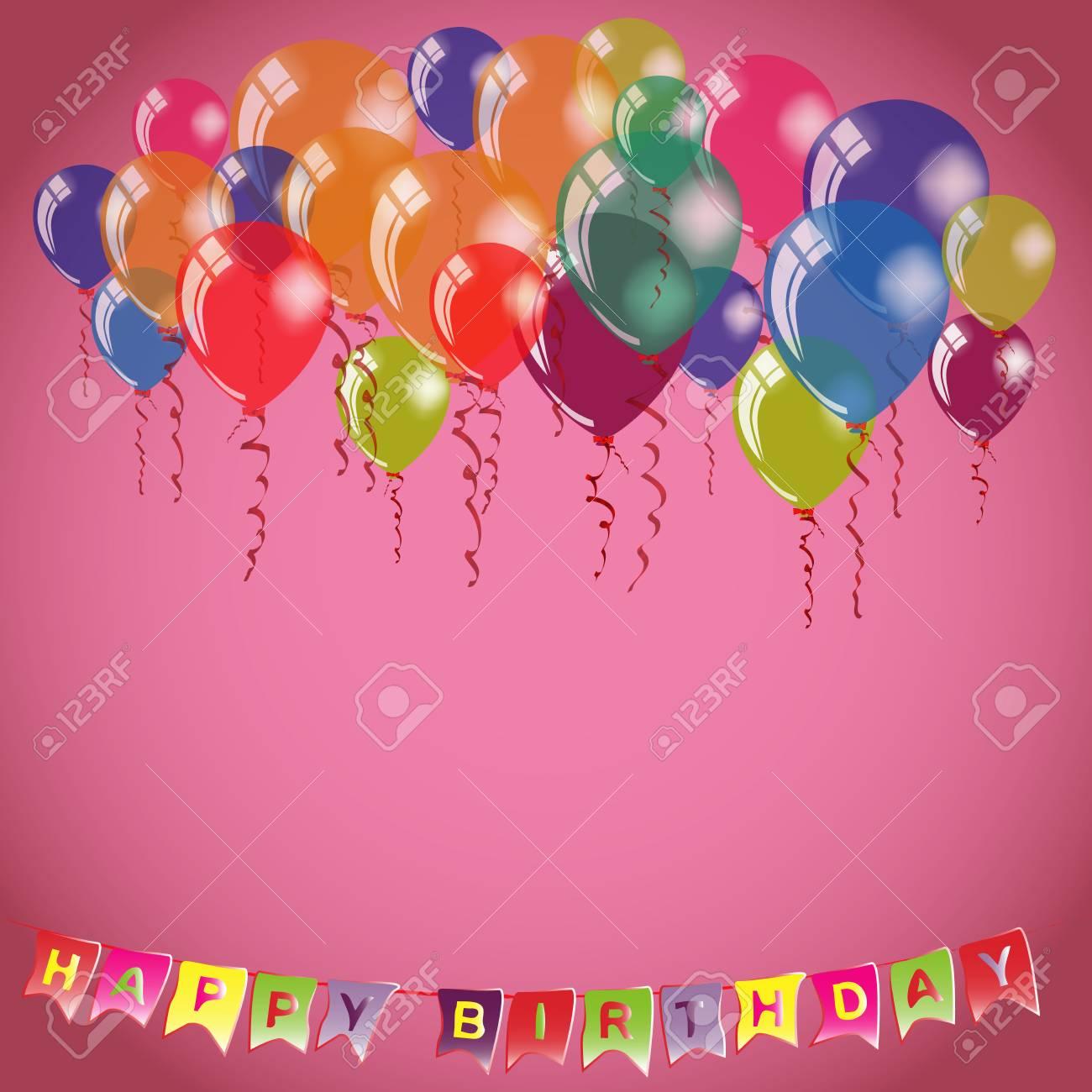 Happy birthday invitation or congratulation card template place happy birthday invitation or congratulation card template place for name and text on pink background stopboris Gallery