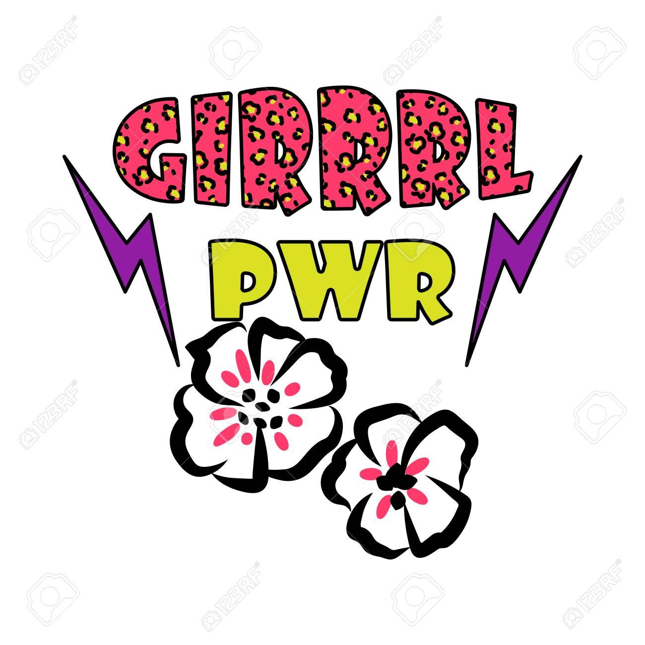 girl power t shirt design vector trendy feminine tee clip art rh 123rf com
