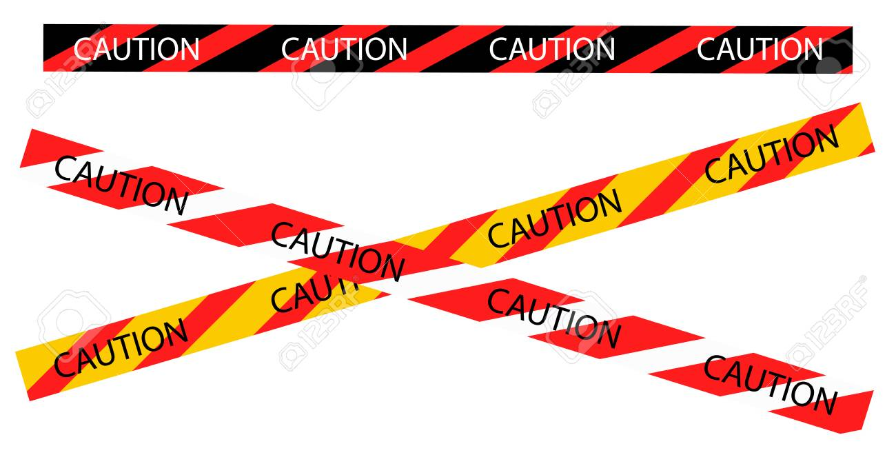 Caution warning tape border vector  Black, red and yellow stripes