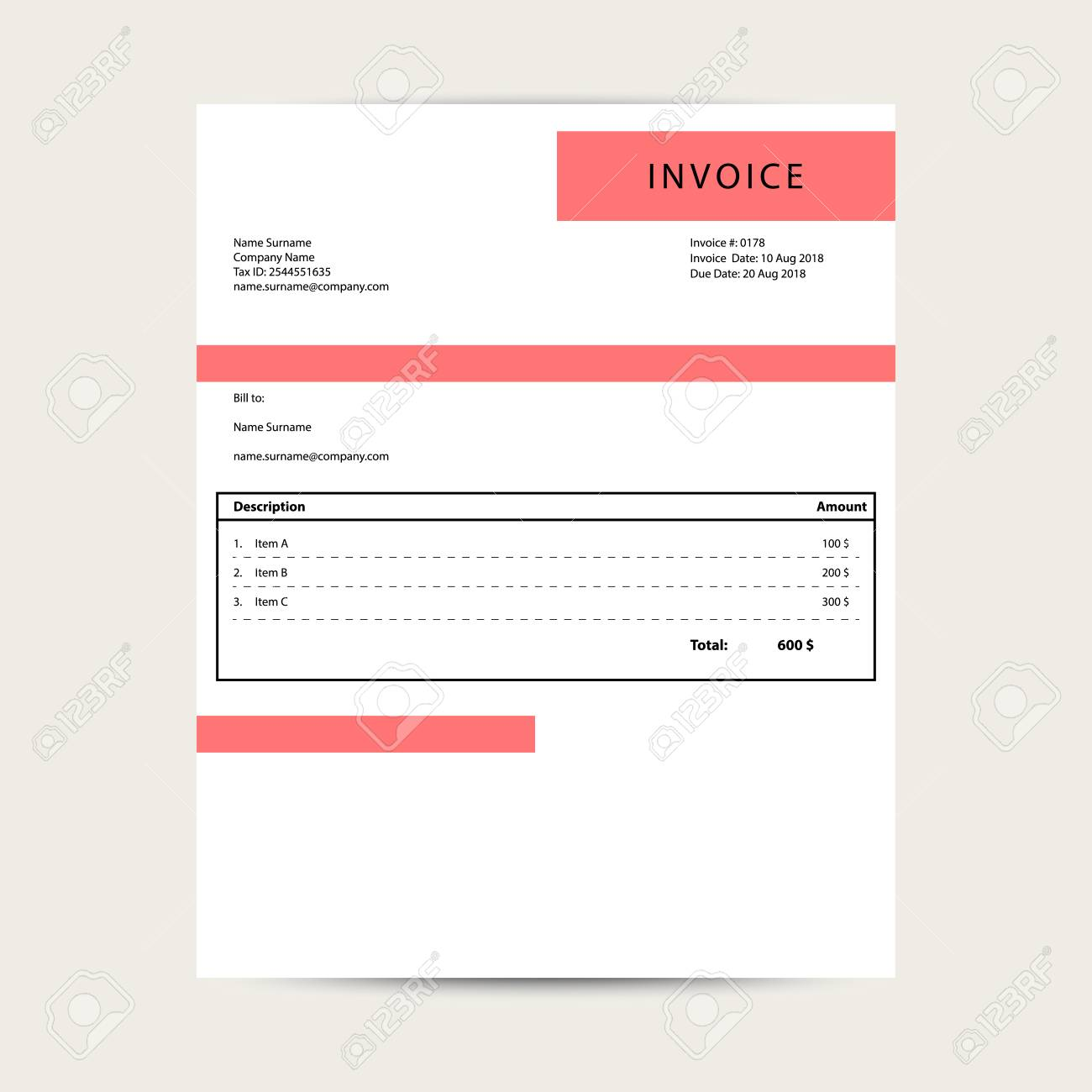 Minimal Invoice Template Vector Simple Bill Document Sample Royalty Free Cliparts Vectors And Stock Illustration Image 106696180