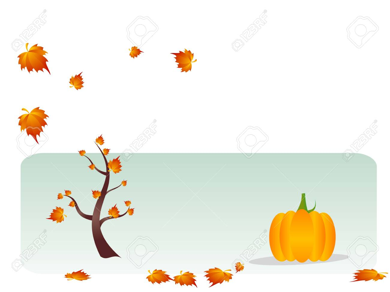 tree and pumpkin on text template Stock Photo - 3307056
