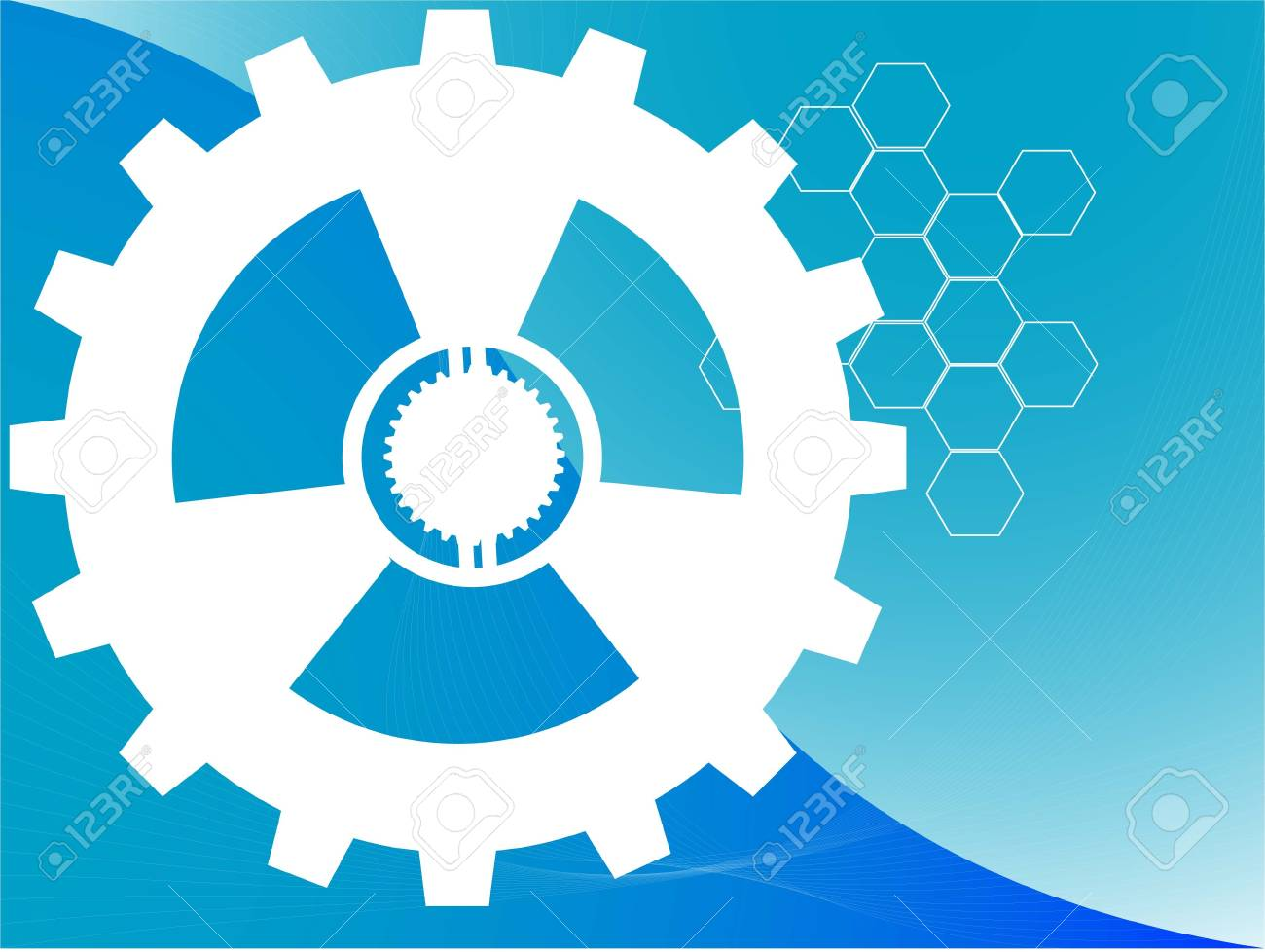 machine gear with hexagons on curvy background Stock Photo - 3311035