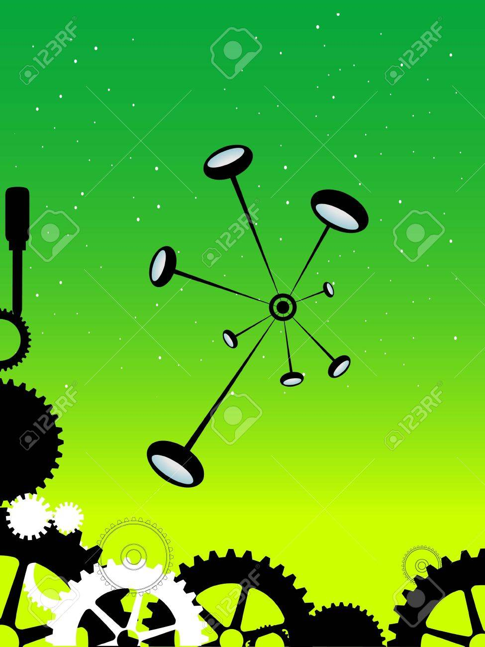 bond of molecules and cogs on gradient background Stock Photo - 3310960