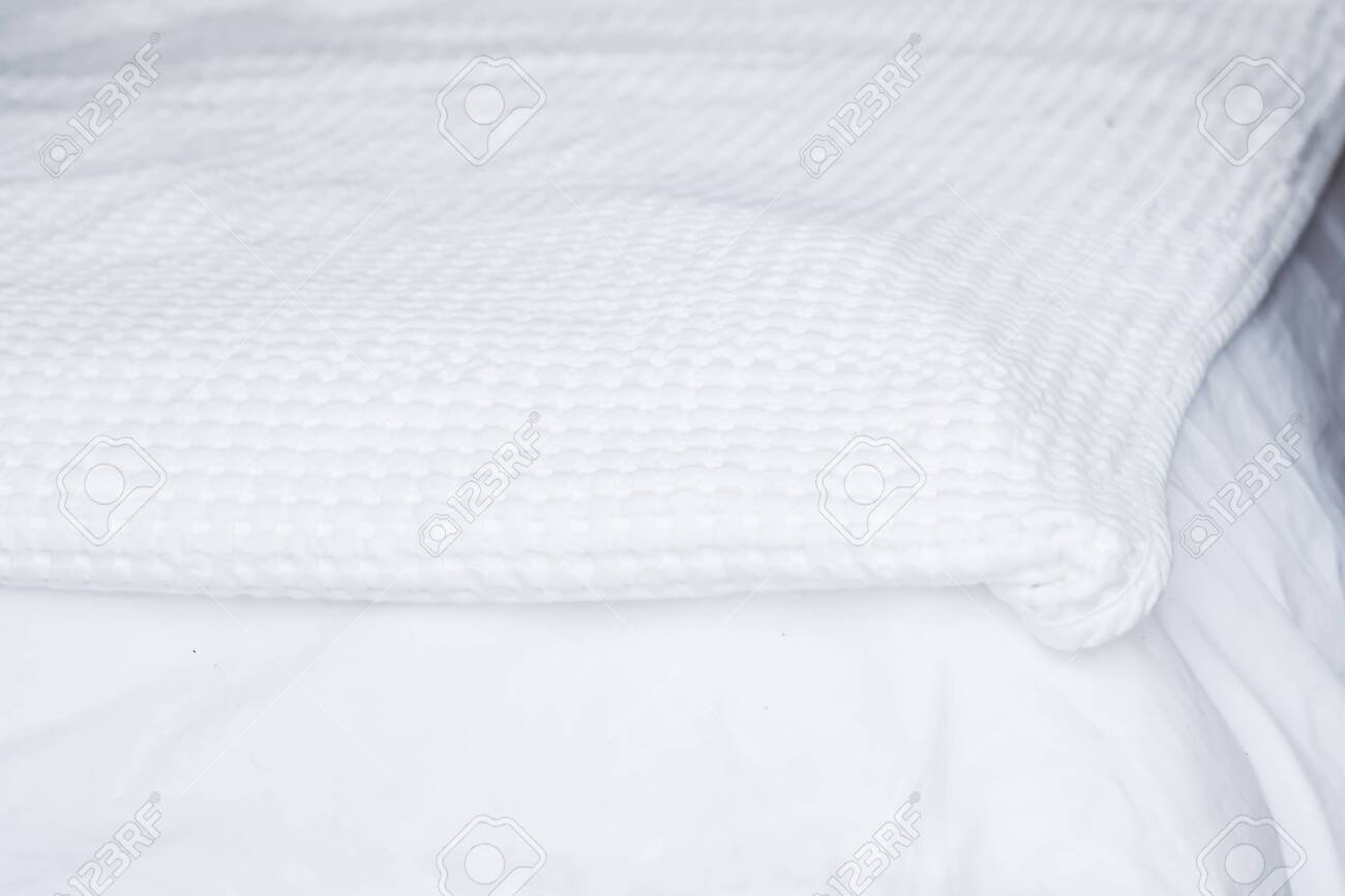 Textured White Bedding On The Bed Prepared For Bed Pillows Stock Photo Picture And Royalty Free Image Image 136680022