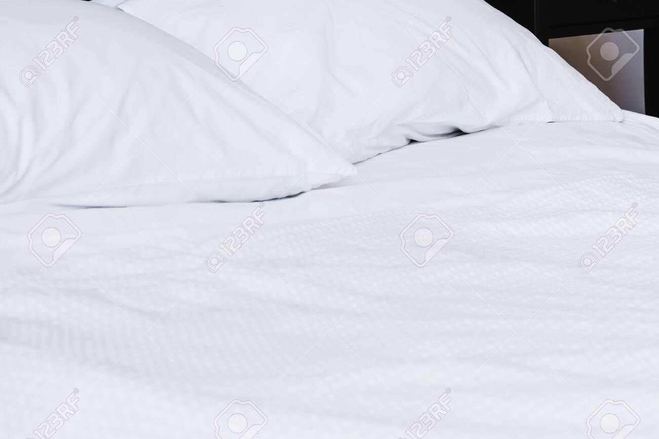 Textured White Bedding On The Bed Prepared For Bed Pillows Stock Photo Picture And Royalty Free Image Image 136680023