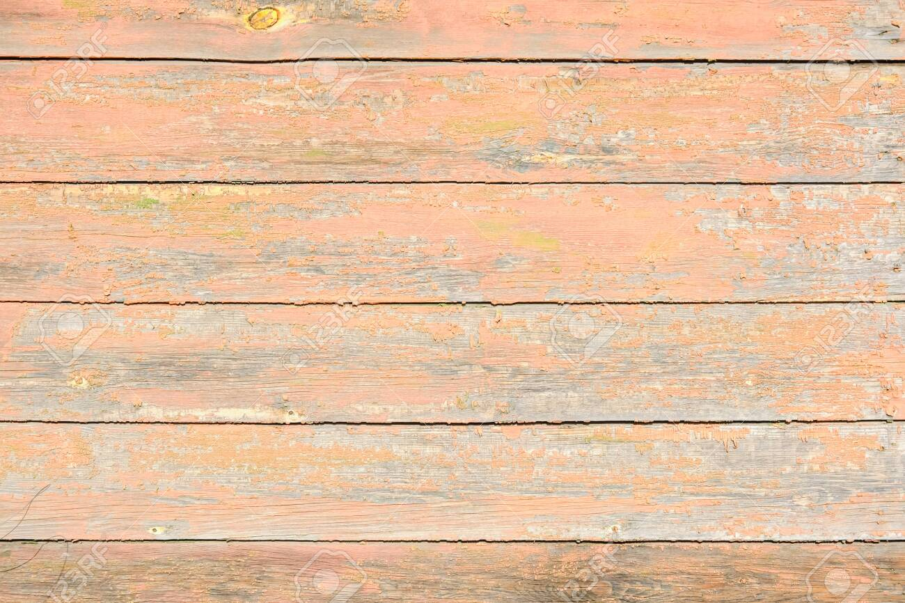 old, peeling paint on wooden boards, craquelure - 138987881